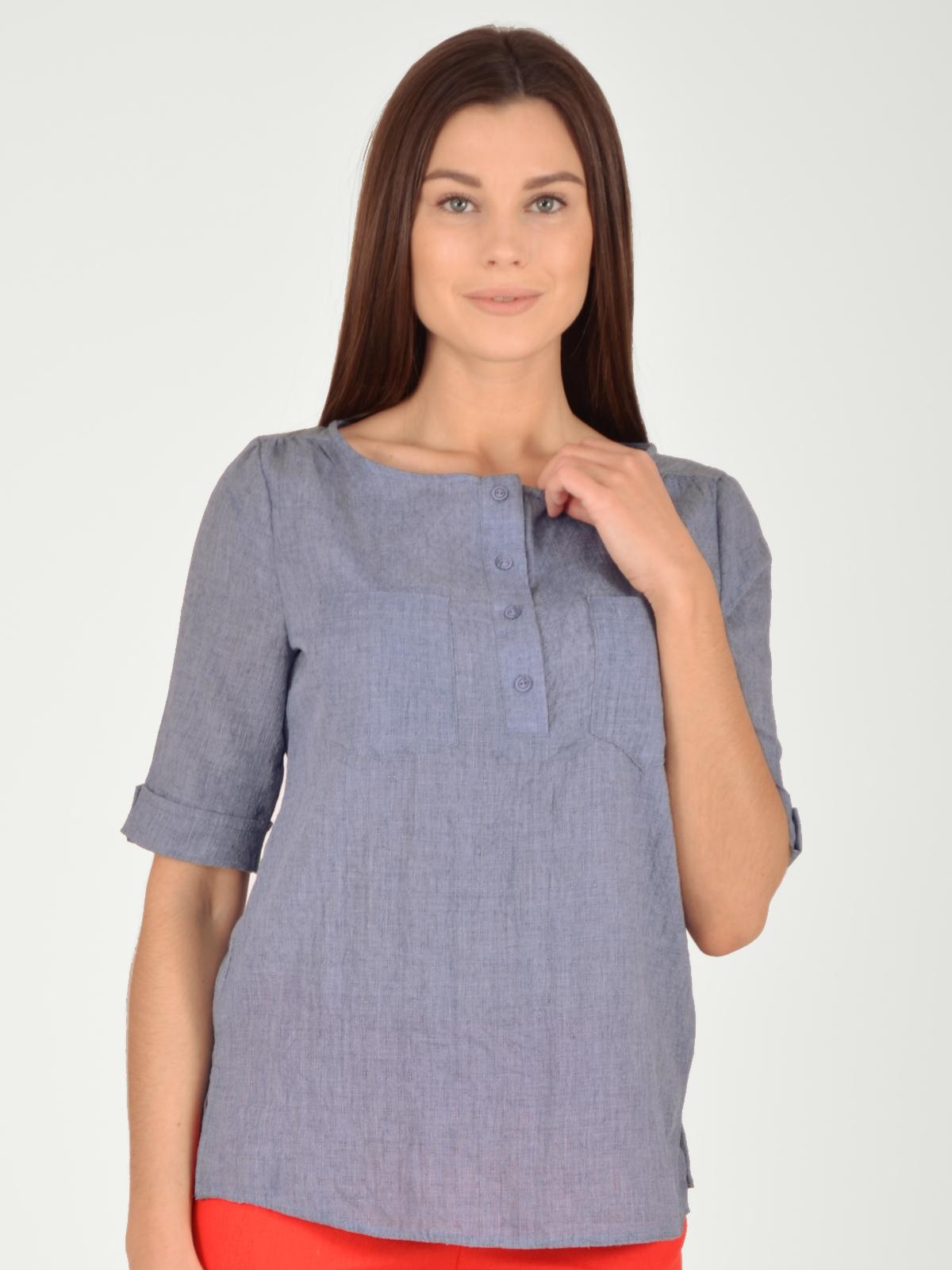 Купить Блузка женская из текстиля, МОСМЕХА, серо-голубой, 5600080