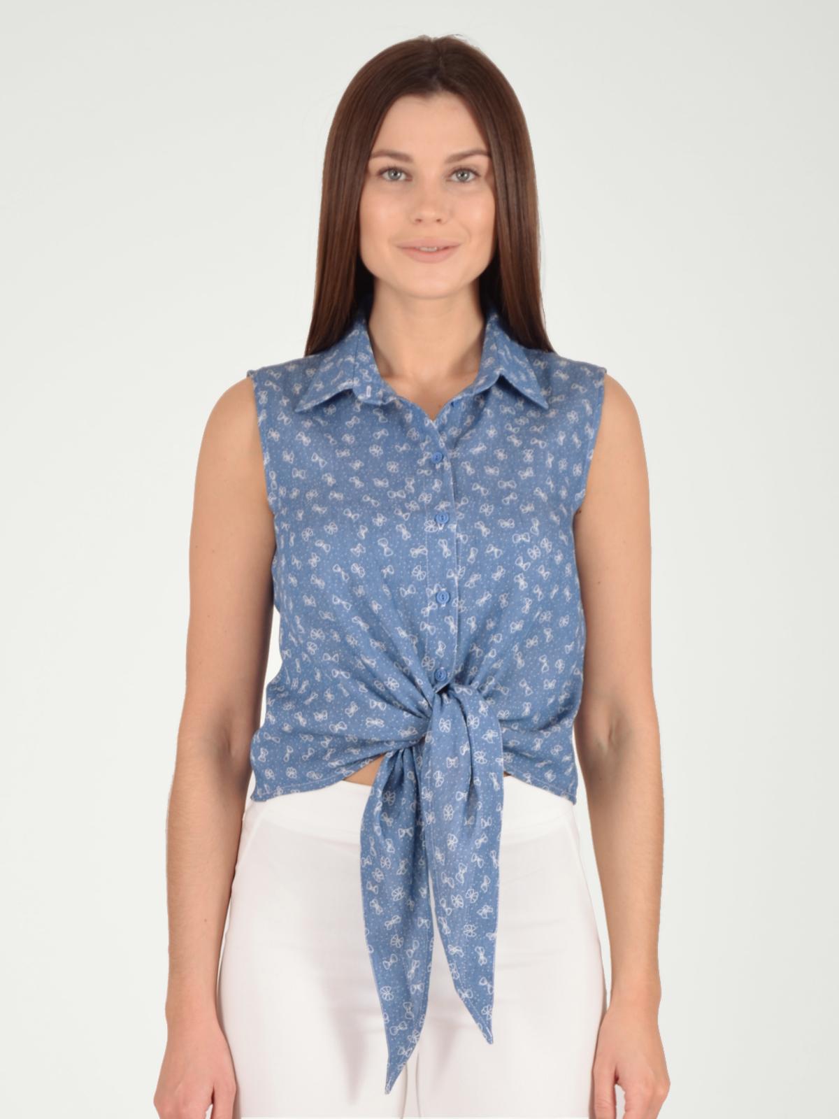 Купить Блузка женская из текстиля, МОСМЕХА, серо-голубой, 5600084