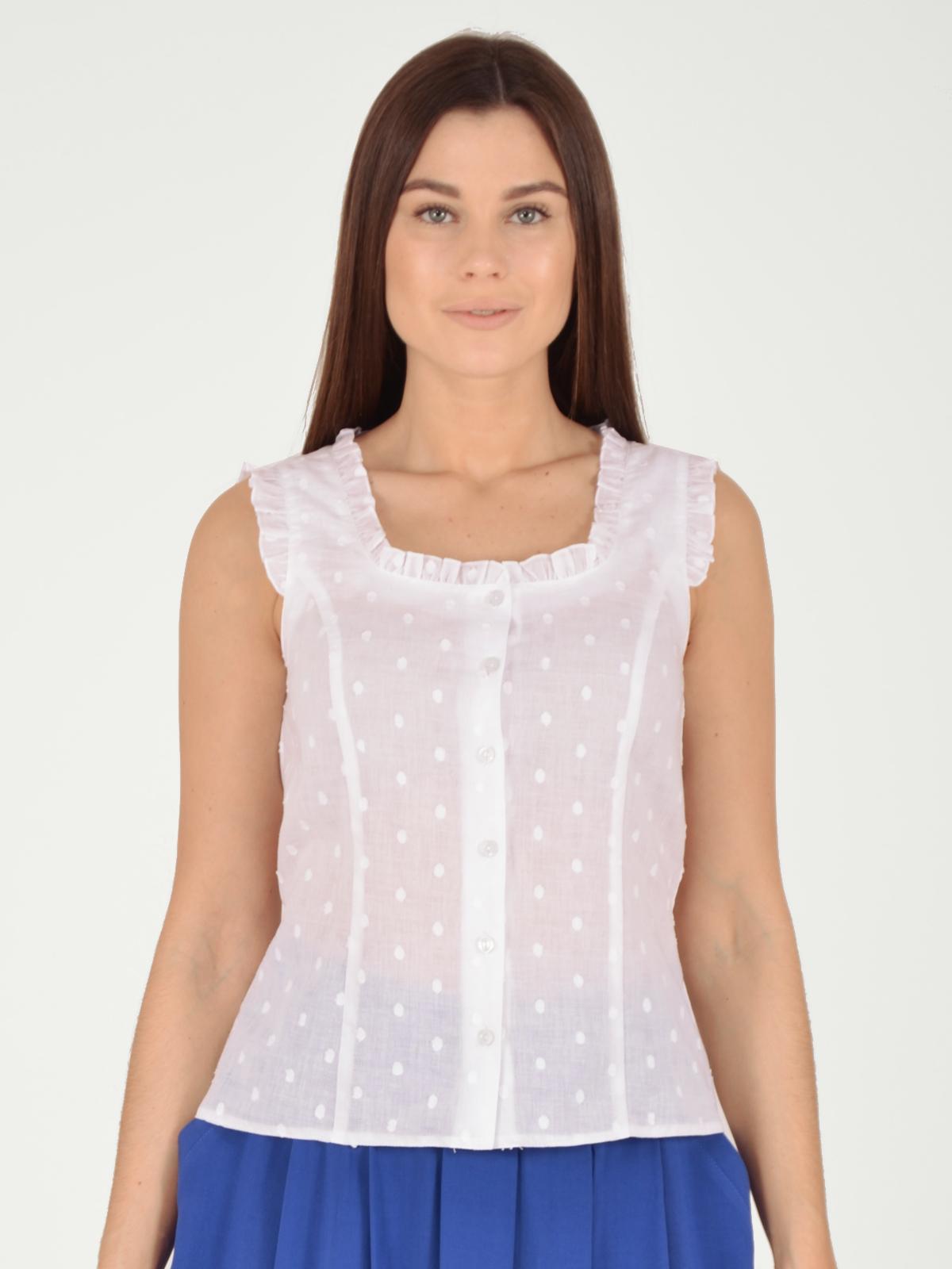 Купить Блузка женская из текстиля, МОСМЕХА, белый, 5600093