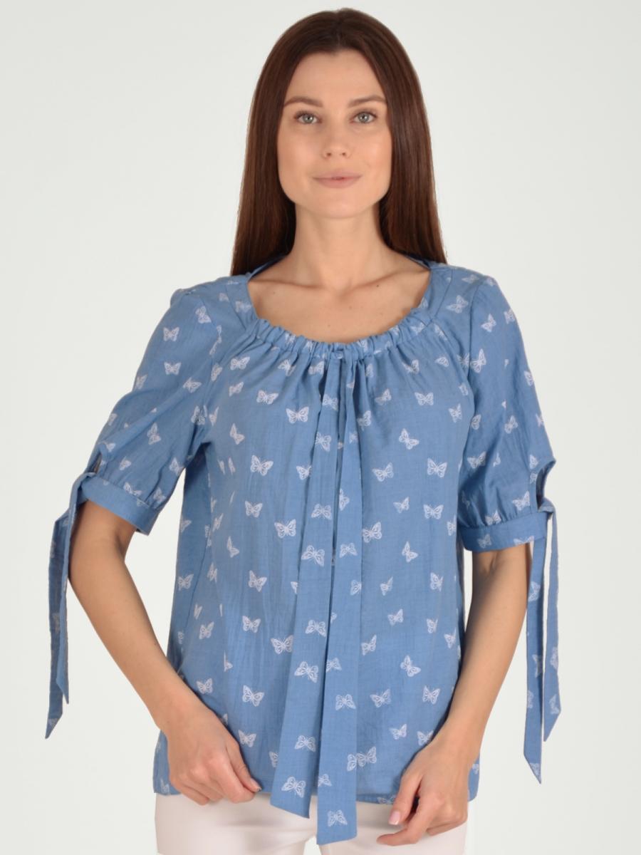 Купить Блузка женская из текстиля, МОСМЕХА, серо-голубой, 5600146