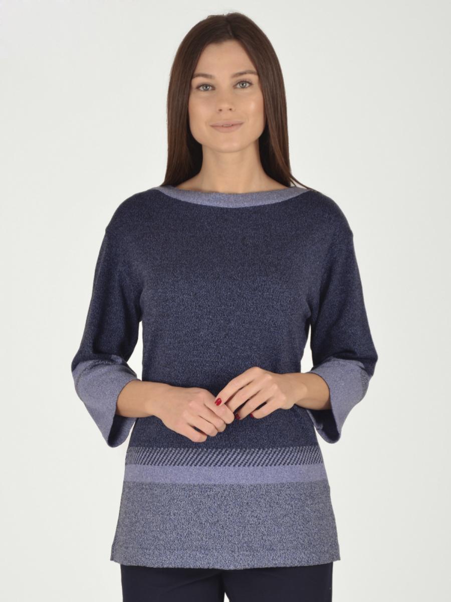 Купить Блузка женская из трикотажа, МОСМЕХА, синий, 5600171