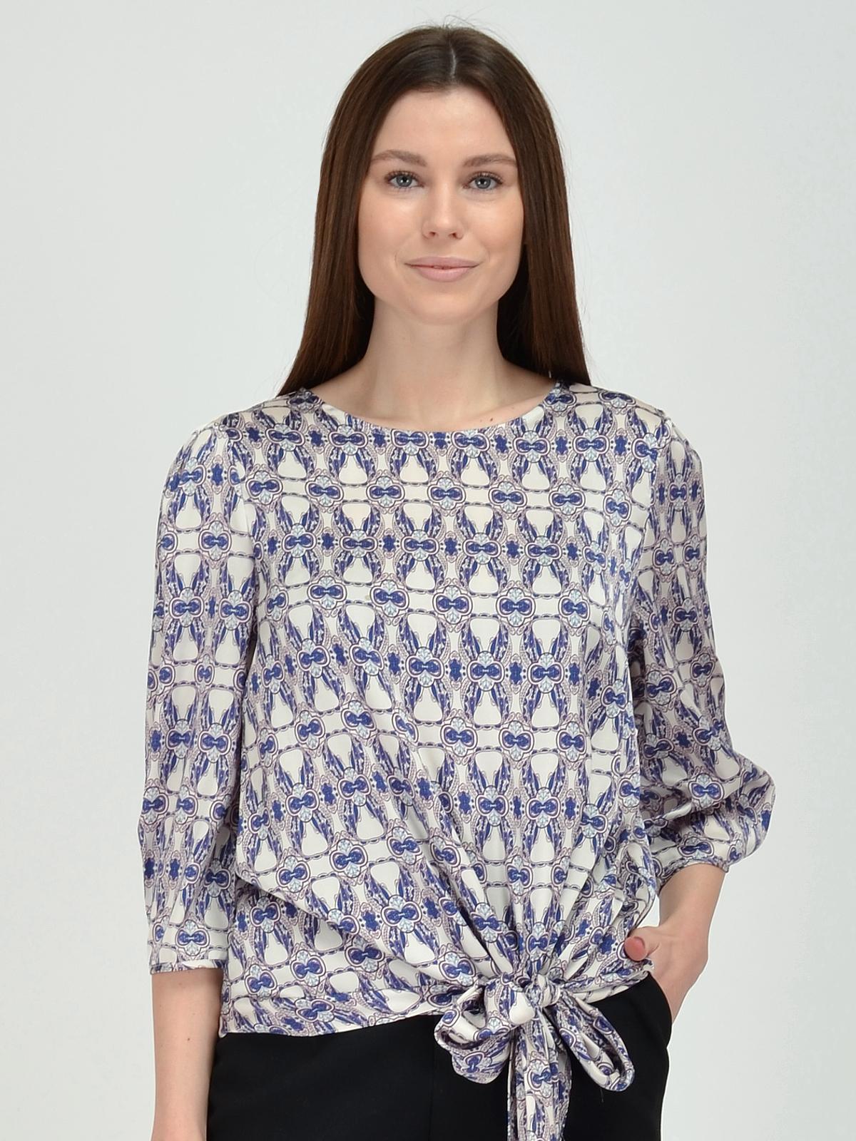 Купить Блузка женская из текстиля, МОСМЕХА, серо-голубой, 5600219
