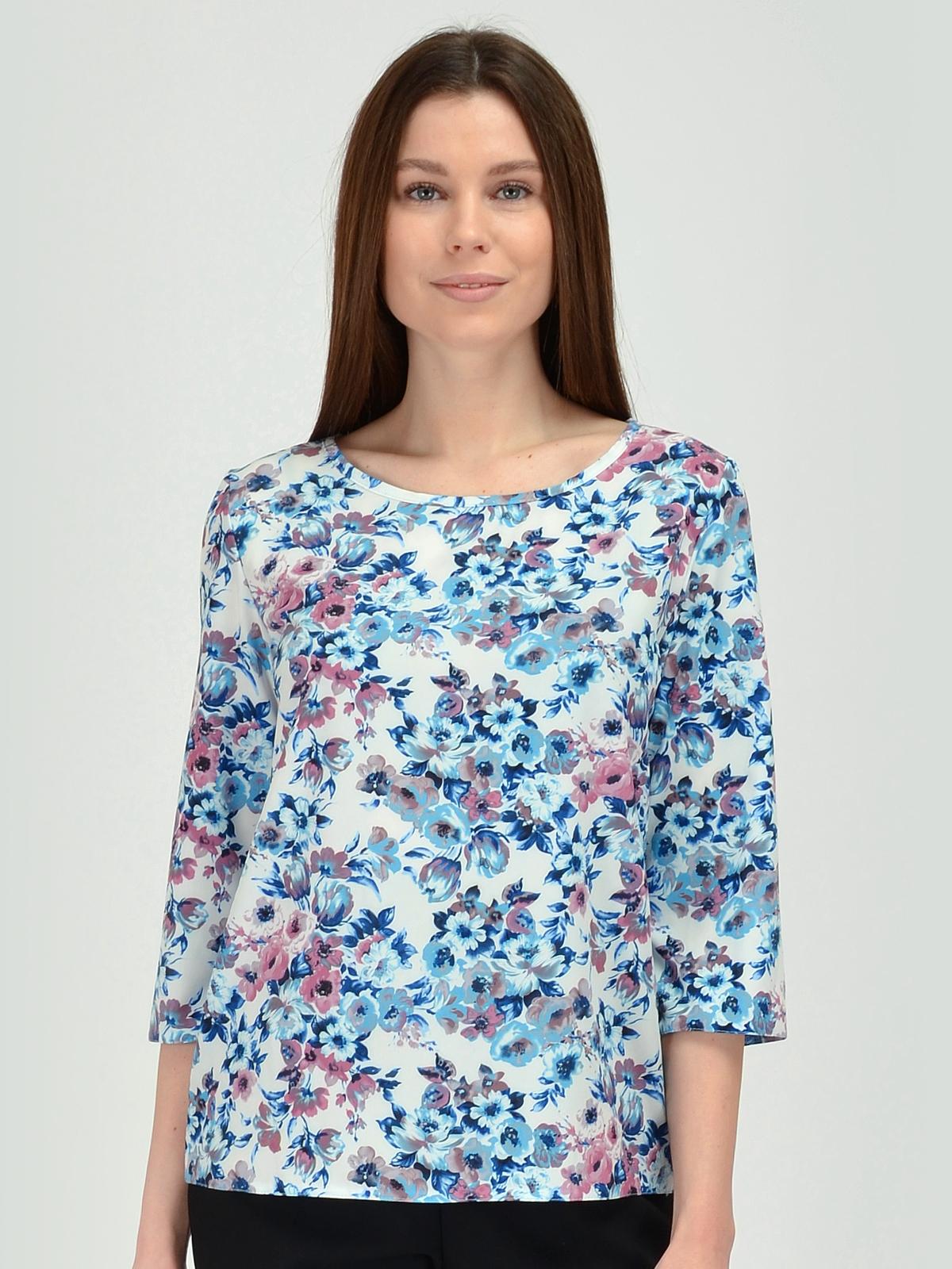 Купить Блузка женская из текстиля, МОСМЕХА, серо-голубой, 5600222