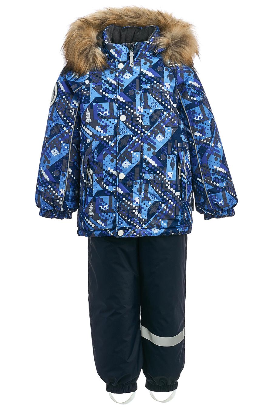 Купить Комплект для малышей, отделка искусственный мех, МОСМЕХА, синий, Полиэстер, 6100030
