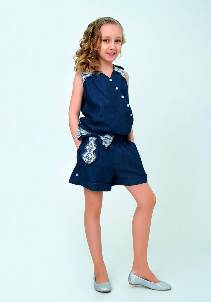 Купить Комбинезон для девочек, МОСМЕХА, синий, Текстиль, 6500284