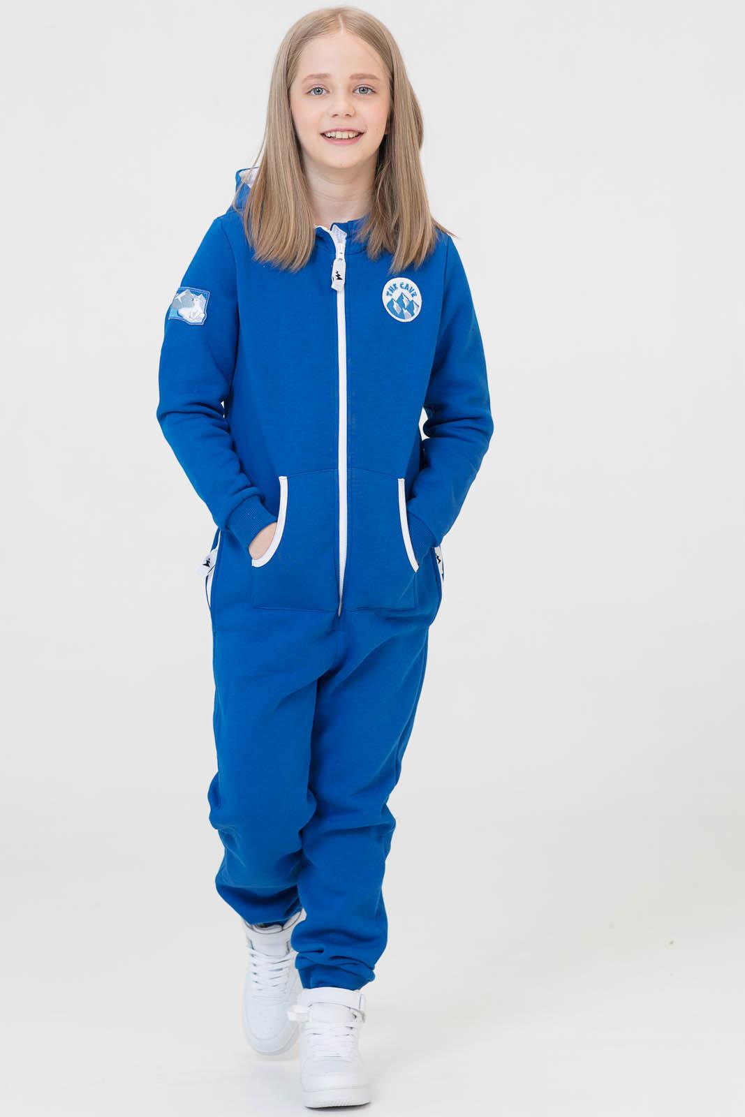 Купить Комбинезон Basic Soft kids синий из текстиля с начесом для девочек, МОСМЕХА, 6600106