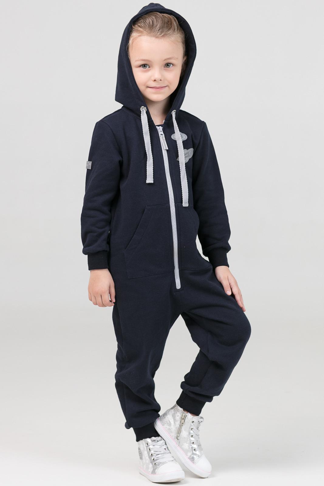 Купить Комбинезон Ready темно-синий из текстиля для девочек, МОСМЕХА, 6600295