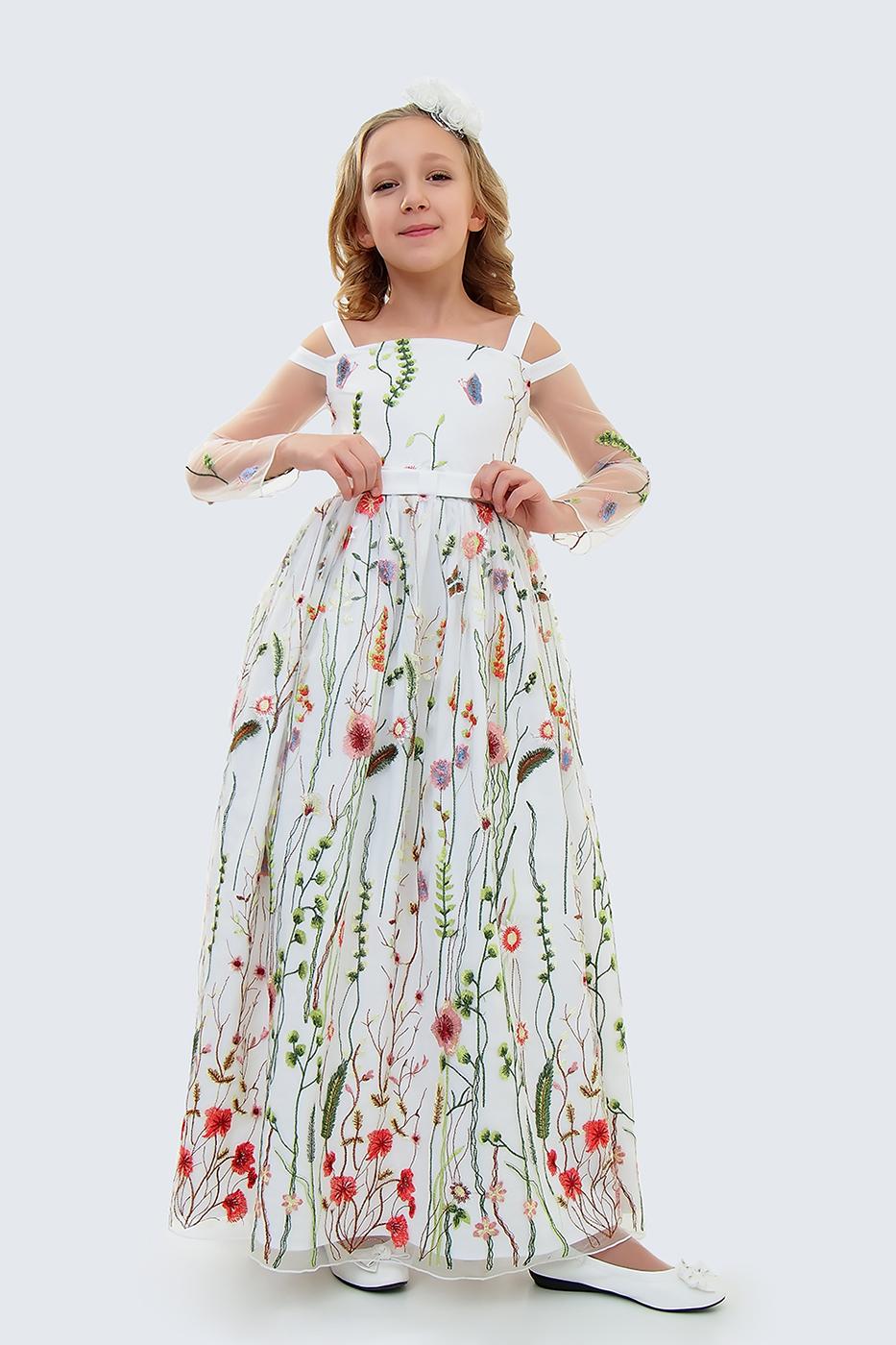 Купить Платье для девочек, МОСМЕХА, белый, 5100397