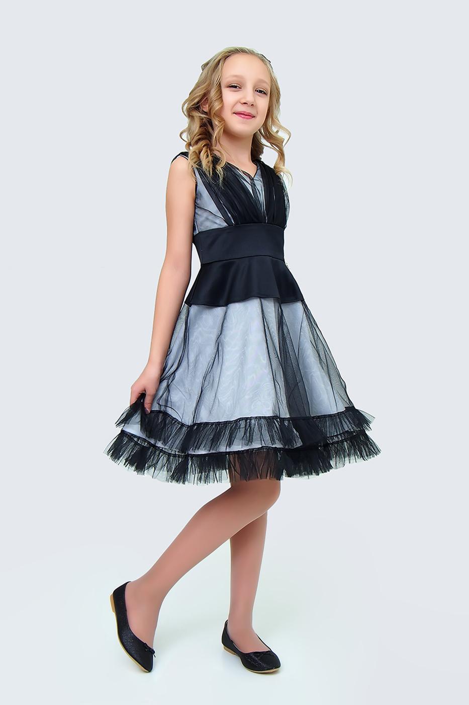 Купить Платье для девочек, МОСМЕХА, черный, 5100440