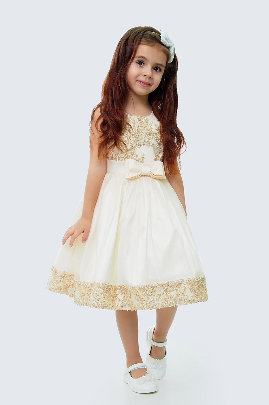 Купить Платье для девочек, МОСМЕХА, золотой, 5100472
