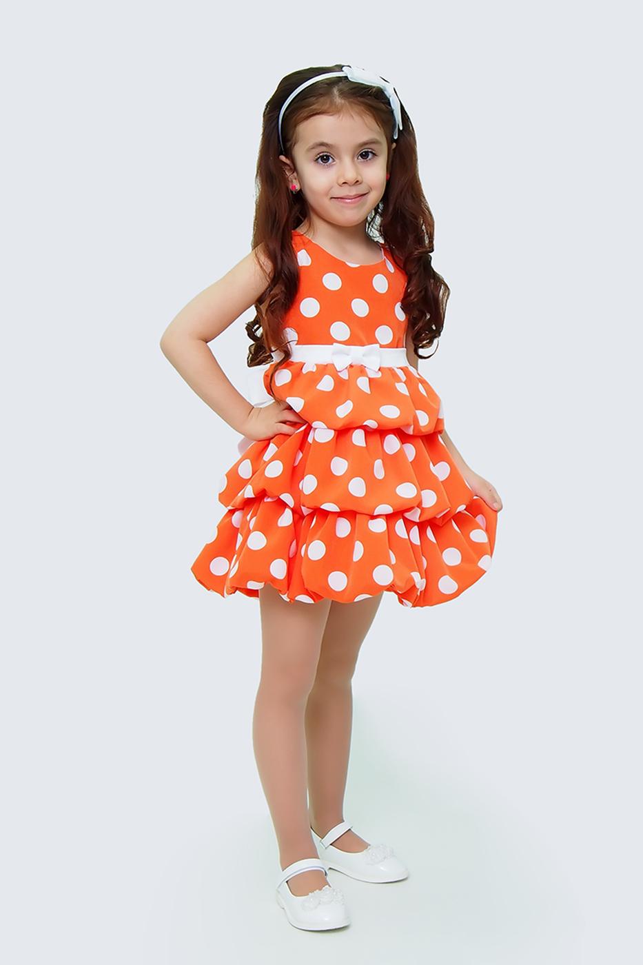 Купить Платье для девочек, МОСМЕХА, оранжевый, 5100658
