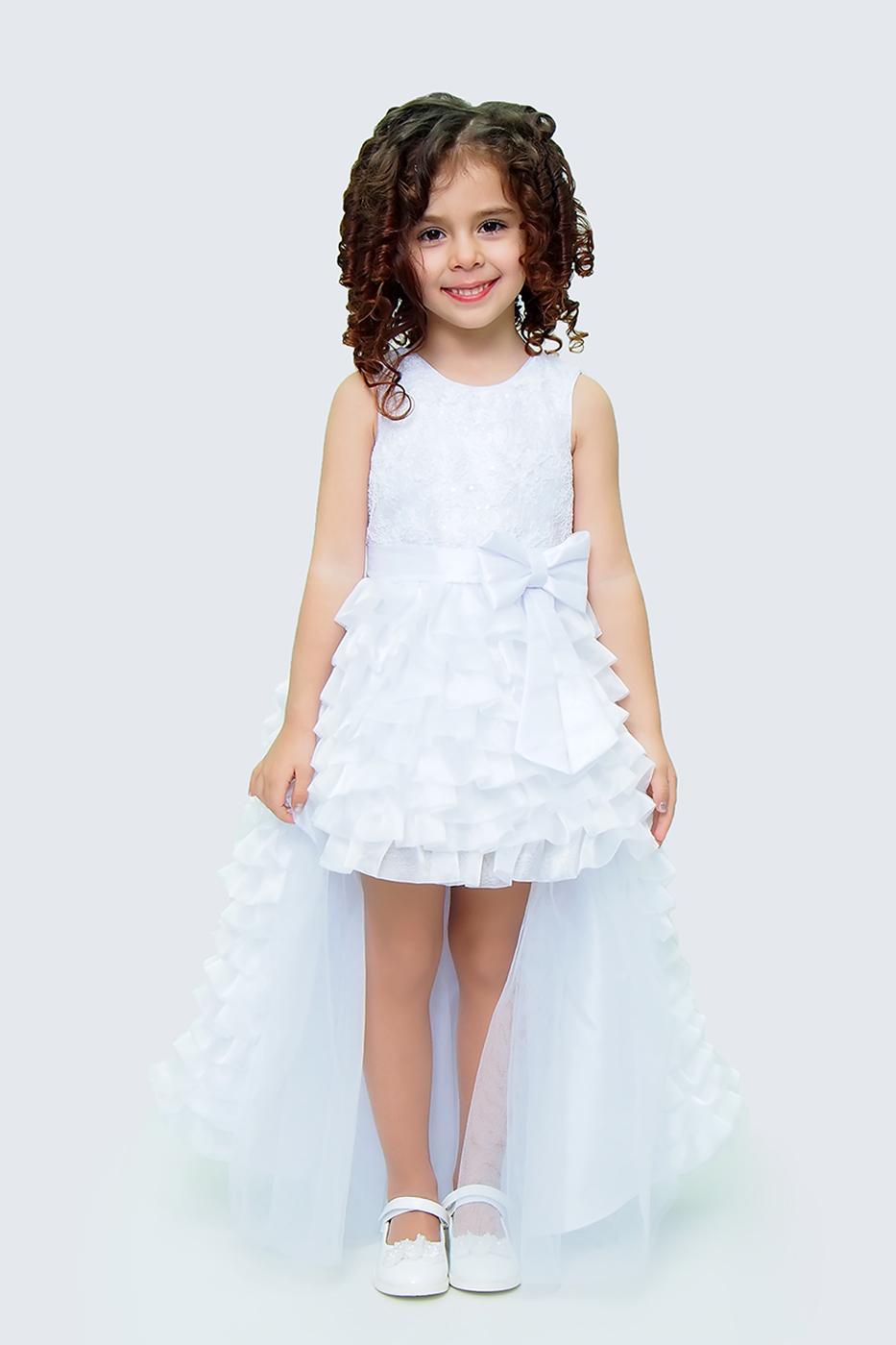 Купить Платье для девочек, МОСМЕХА, белый, 5100661