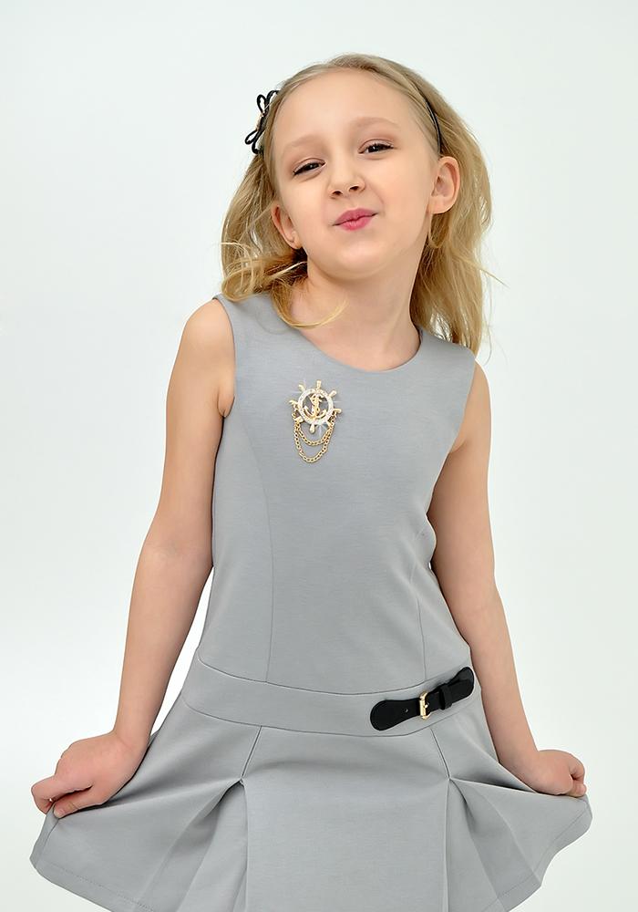 Купить Платье для девочек, МОСМЕХА, серый, 6500043