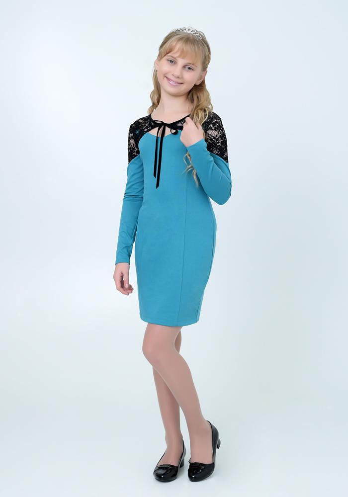 Купить Платье для девочек, МОСМЕХА, бирюзовый, 6500216