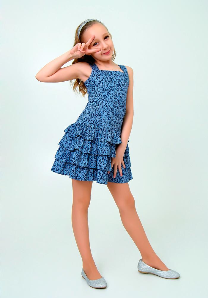 Купить Платье для девочек, МОСМЕХА, синий, 6500336