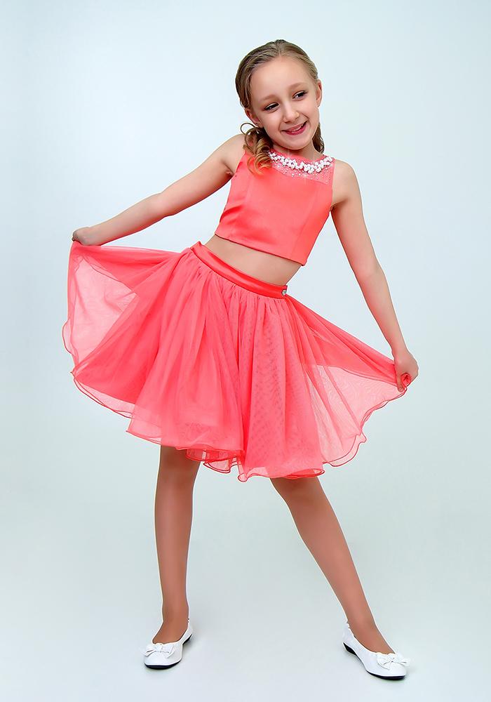 Купить Платье для девочек, МОСМЕХА, коралловый, 6500504