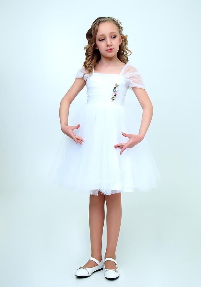 Купить Платье с брошью для девочек, МОСМЕХА, белый, 6500505