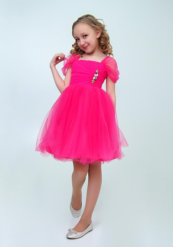 Купить Платье с брошью для девочек, МОСМЕХА, фуксия, 6500506