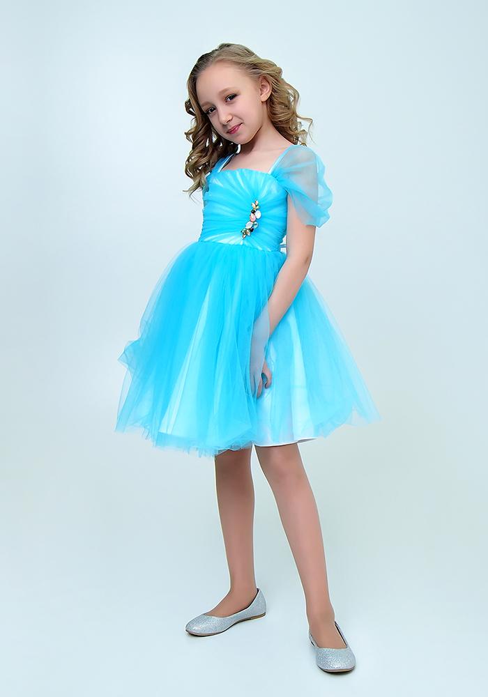 Купить Платье с брошью для девочек, МОСМЕХА, голубой, 6500508