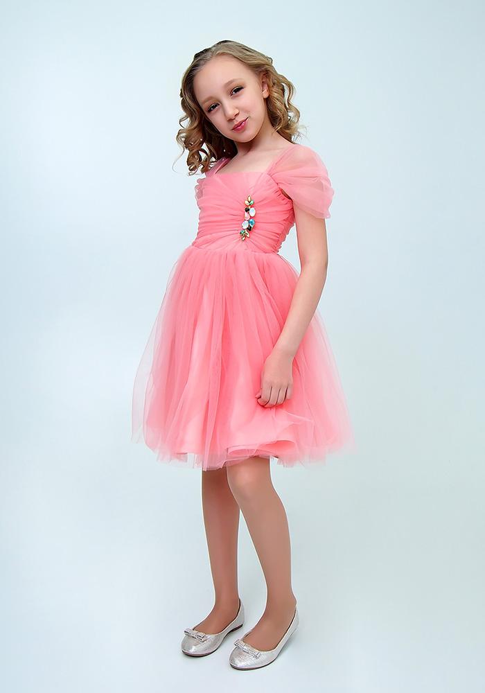 Купить Платье с брошью для девочек, МОСМЕХА, розовый, 6500509