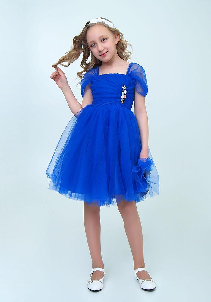 Купить Платье с брошью для девочек, МОСМЕХА, синий, 6500510