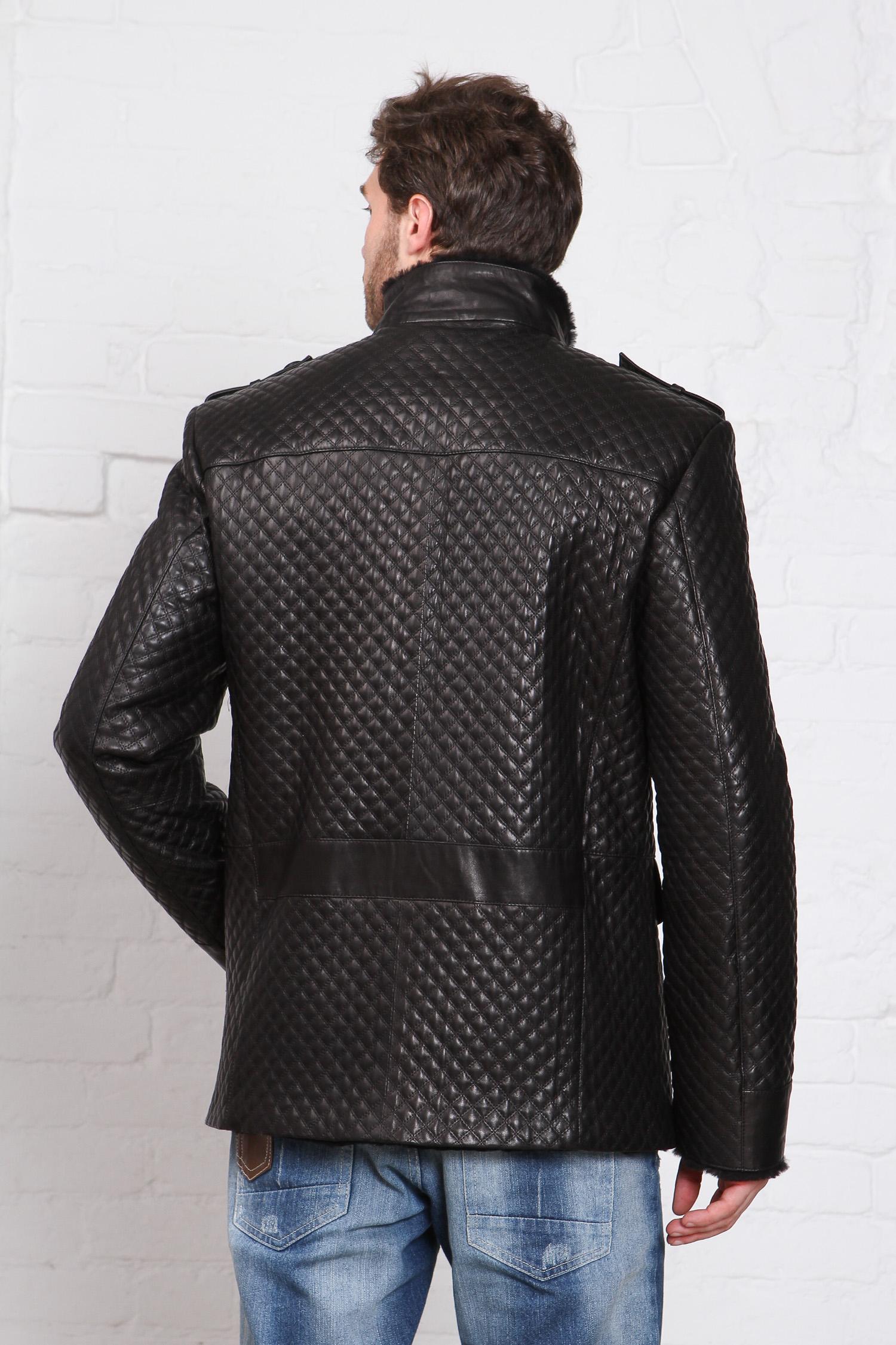 Фото 3 - Дубленку мужская  из натуральной кожи с воротником от МОСМЕХА черного цвета