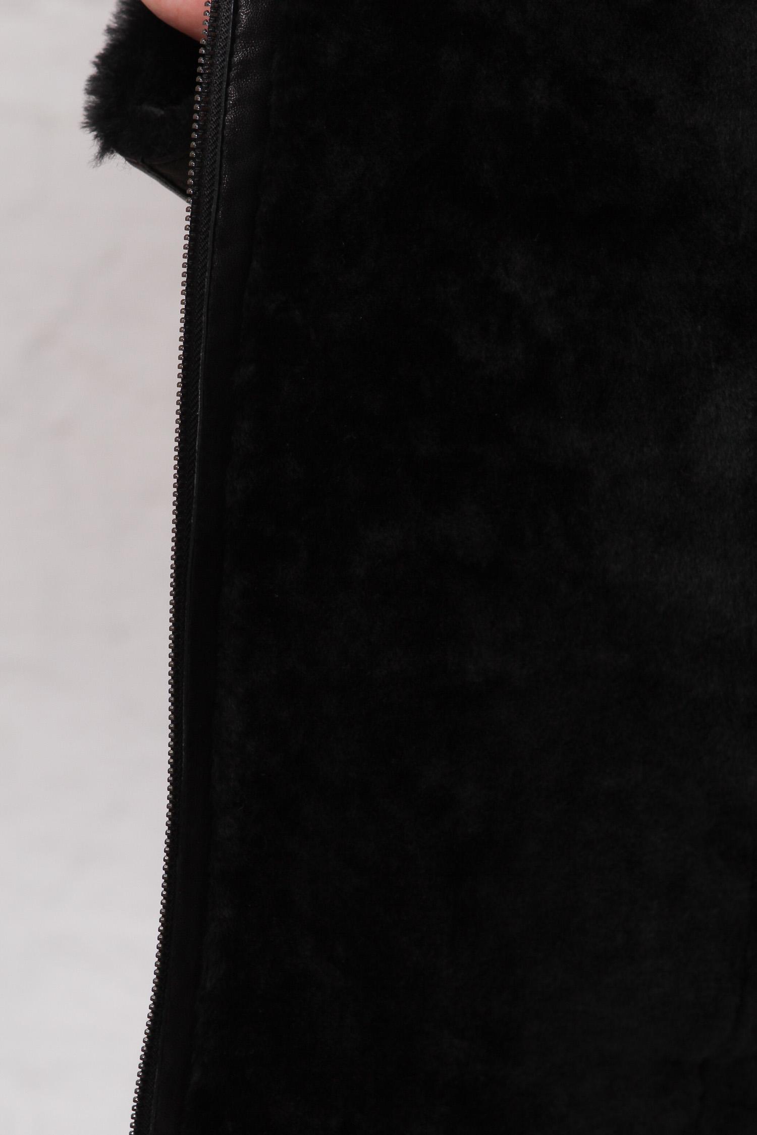 Фото 4 - Дубленку мужская  из натуральной кожи с воротником от МОСМЕХА черного цвета