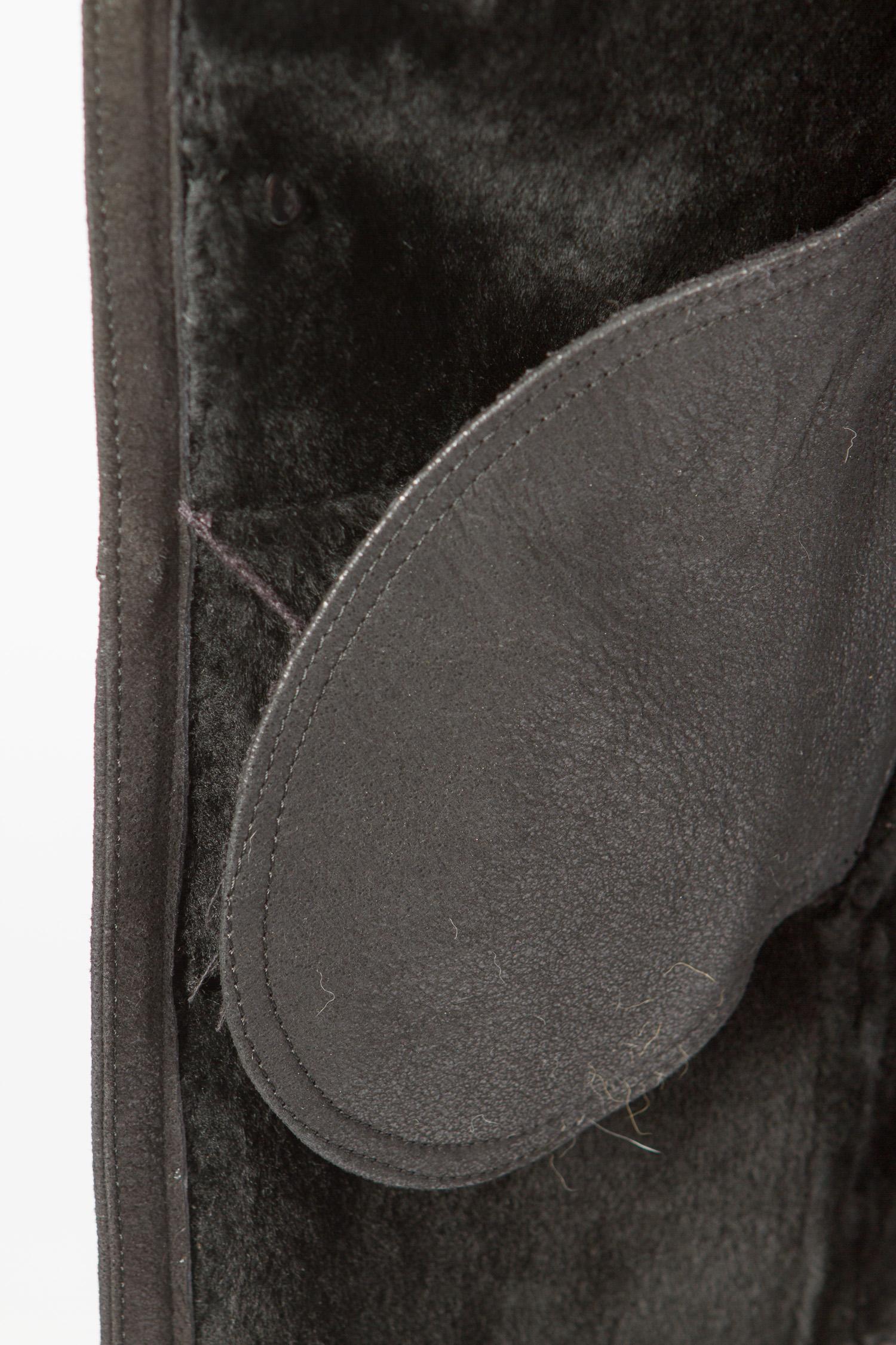 Пуховик женский из натуральной кожи с капюшоном, без отделки