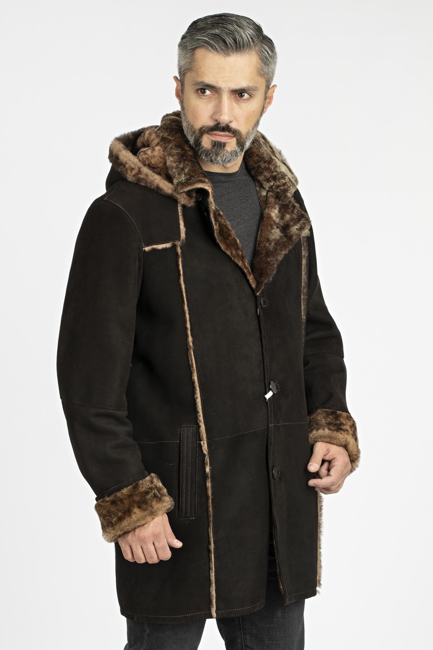 Дубленка мужская из натуральной овчины с капюшоном, без отделки