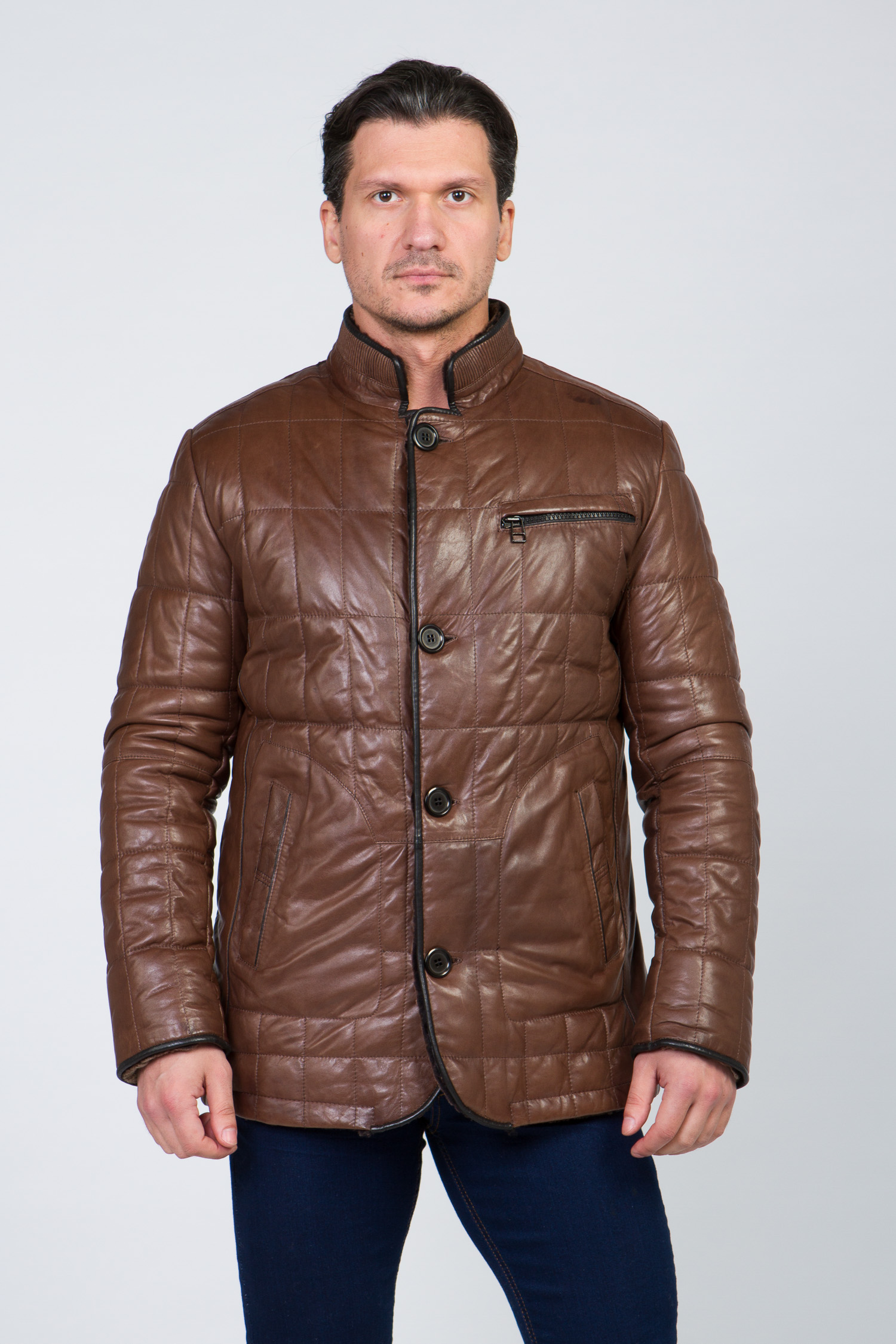 Мужская кожаная куртка из натуральной кожи на меху с воротником от МОСМЕХА