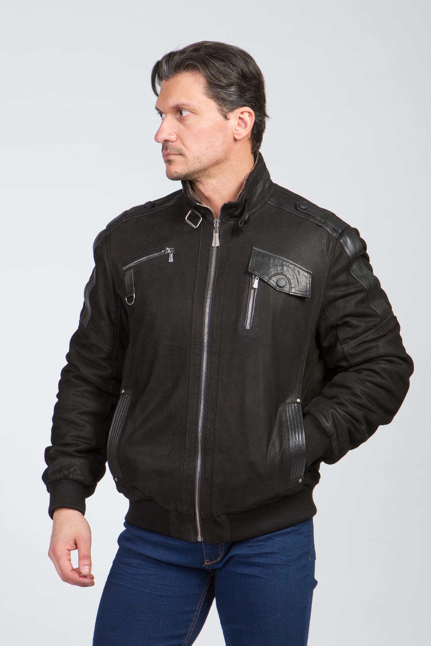 Мужская кожаная куртка из натуральной замши на меху с воротником, отделка овчина