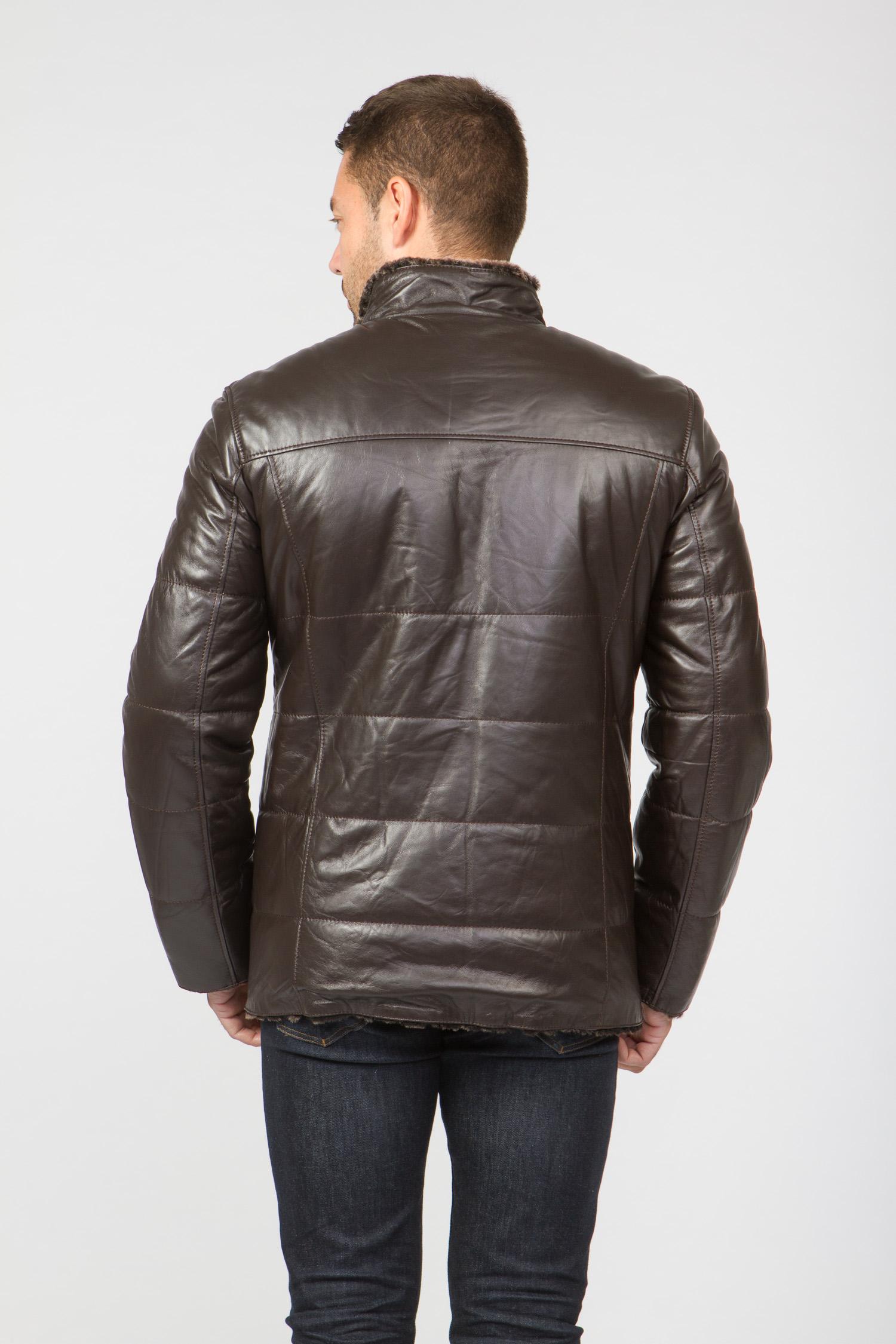 Мужская кожаная куртка из натуральной овчины на меху с воротником, без отделки
