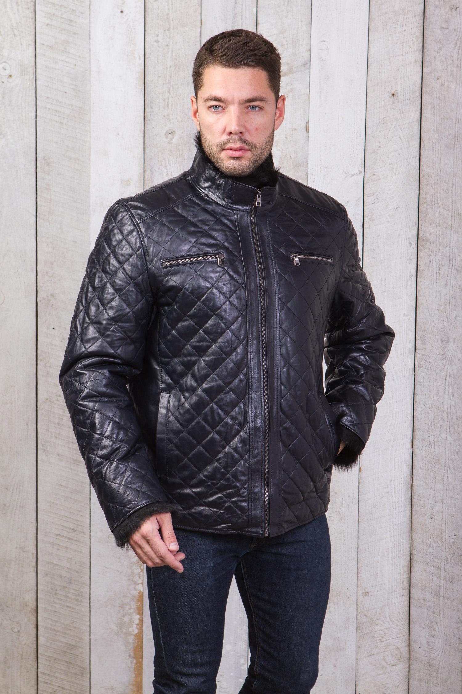 Фото 5 - Мужская кожаная куртка из натуральной кожи на меху с воротником от МОСМЕХА синего цвета