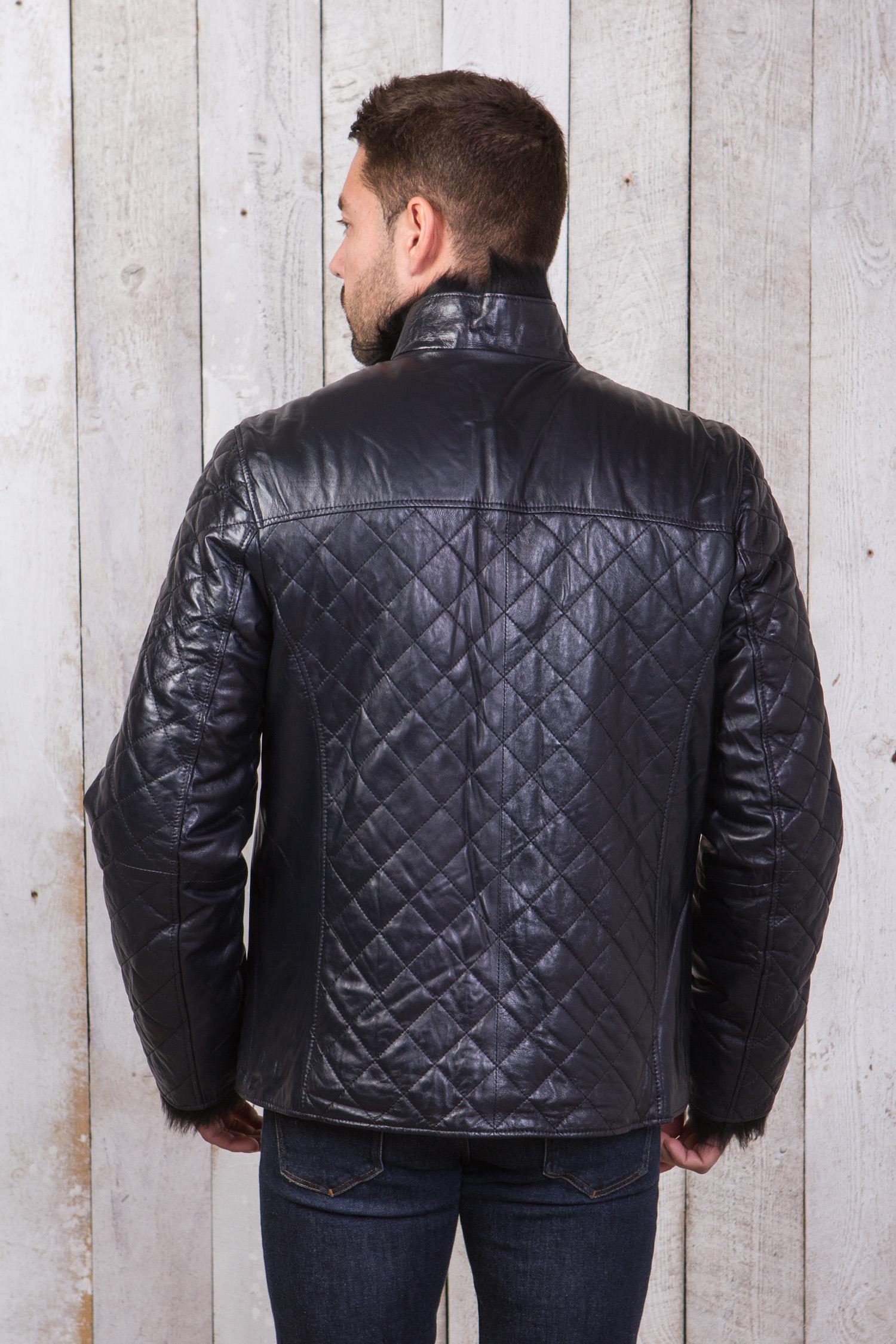 Фото 8 - Мужская кожаная куртка из натуральной кожи на меху с воротником от МОСМЕХА синего цвета