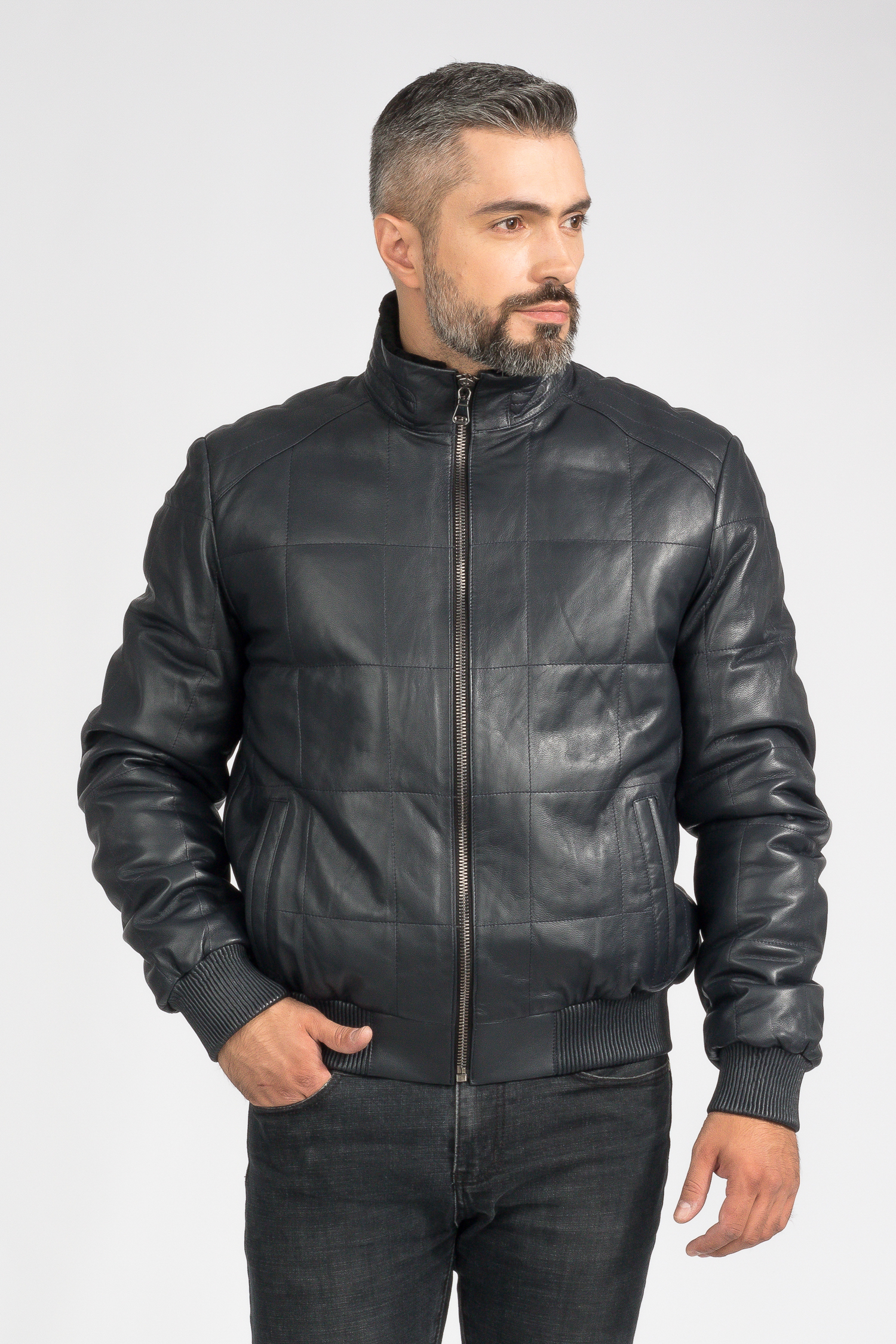 Купить Мужская кожаная куртка из натуральной кожи на меху с воротником, без отделки, МОСМЕХА, синий, Кожа овчина, 3600171