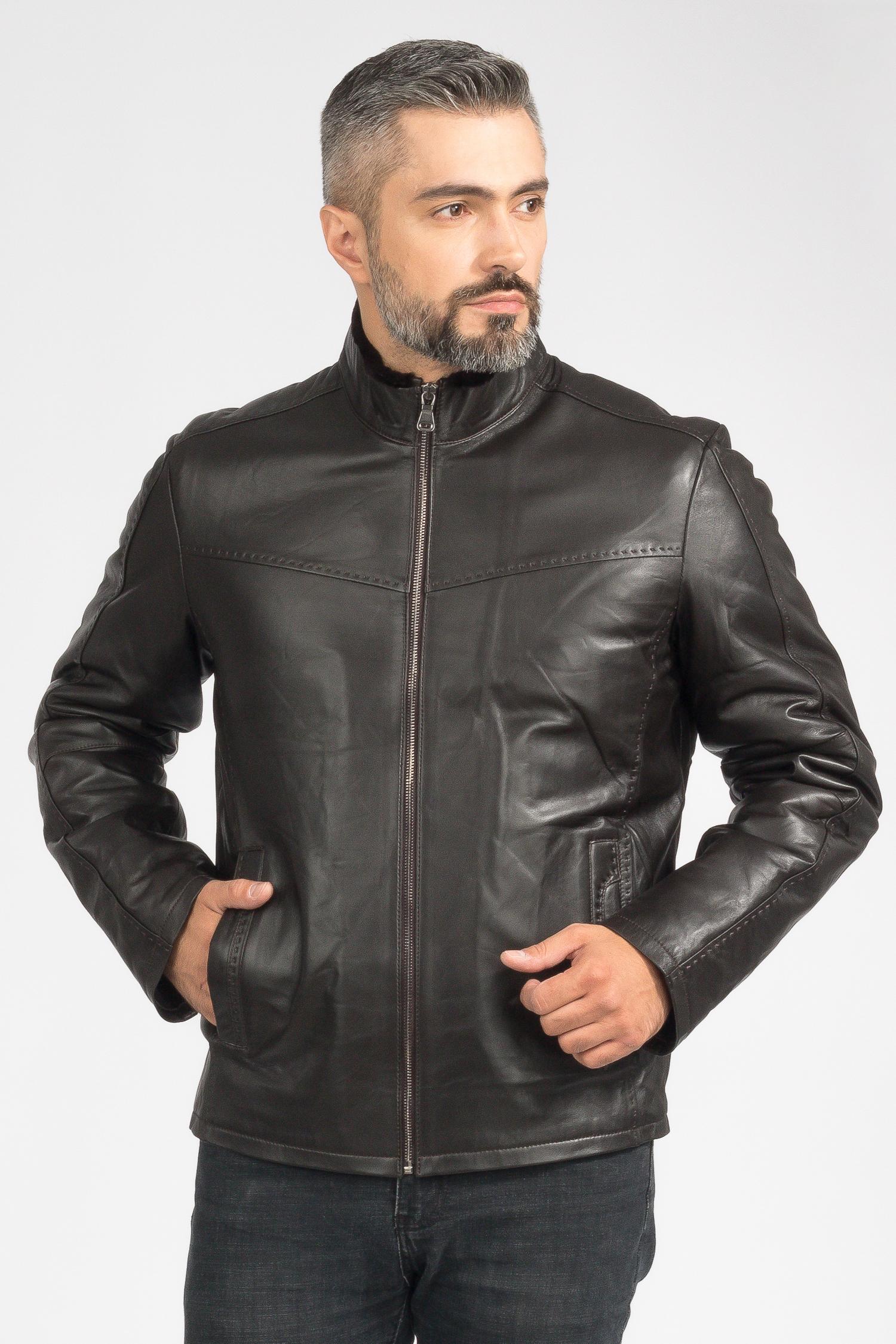 Фото #1: Мужская кожаная куртка из натуральной кожи на меху с воротником, без отделки