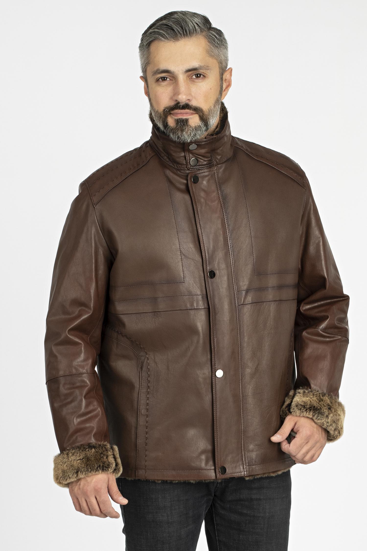 Мужская кожаная куртка из натуральной кожи на меху с воротником, без отделки МОСМЕХА
