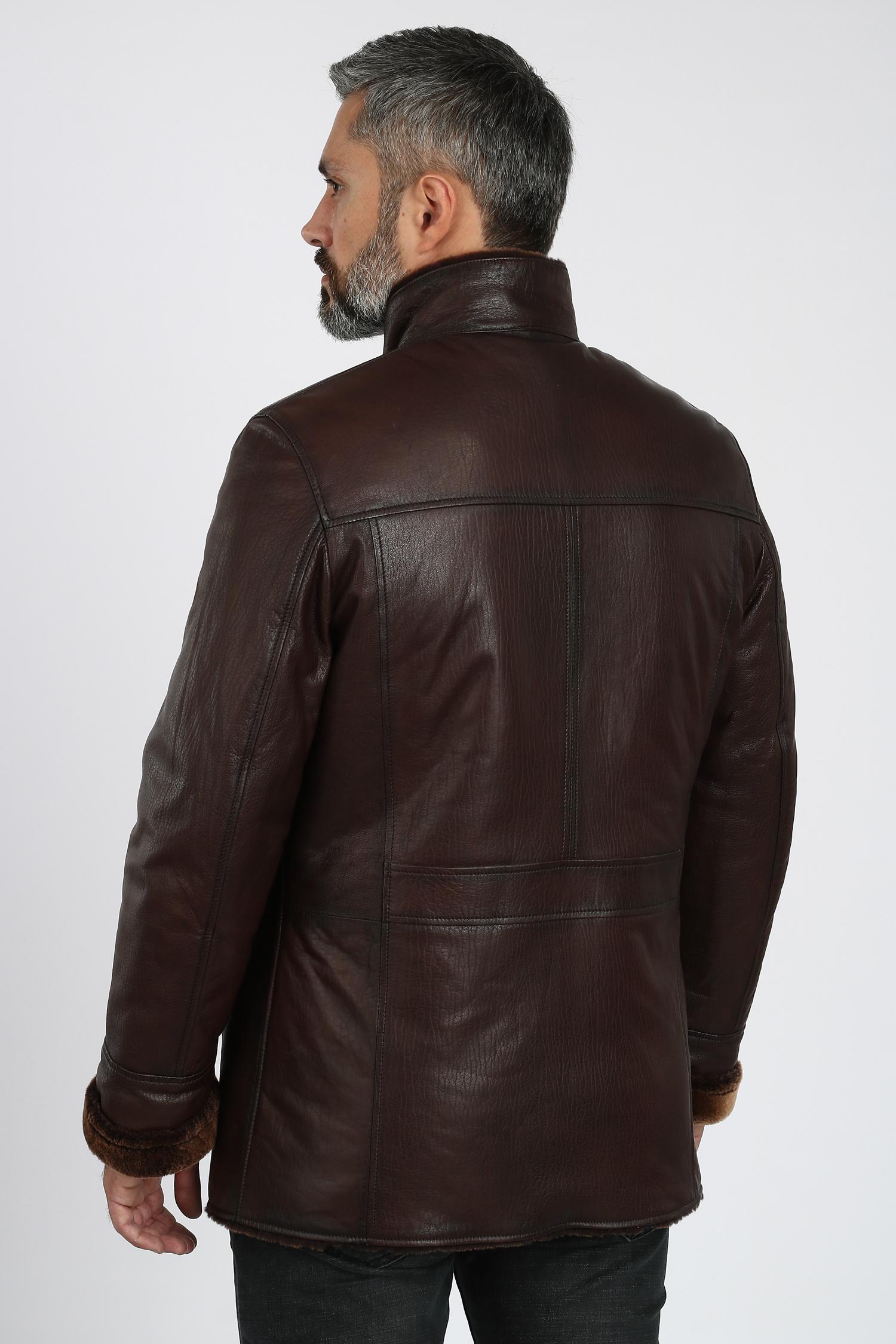 Мужская кожаная куртка из натуральной кожи на меху с воротником, без отделки