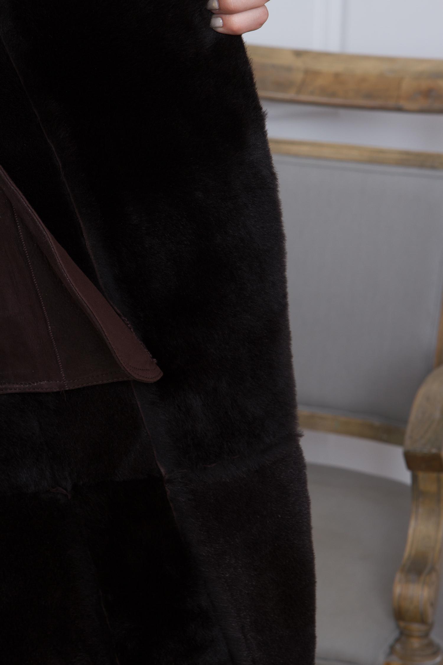 Дубленка женская из натуральной овчины с капюшоном, без отделки