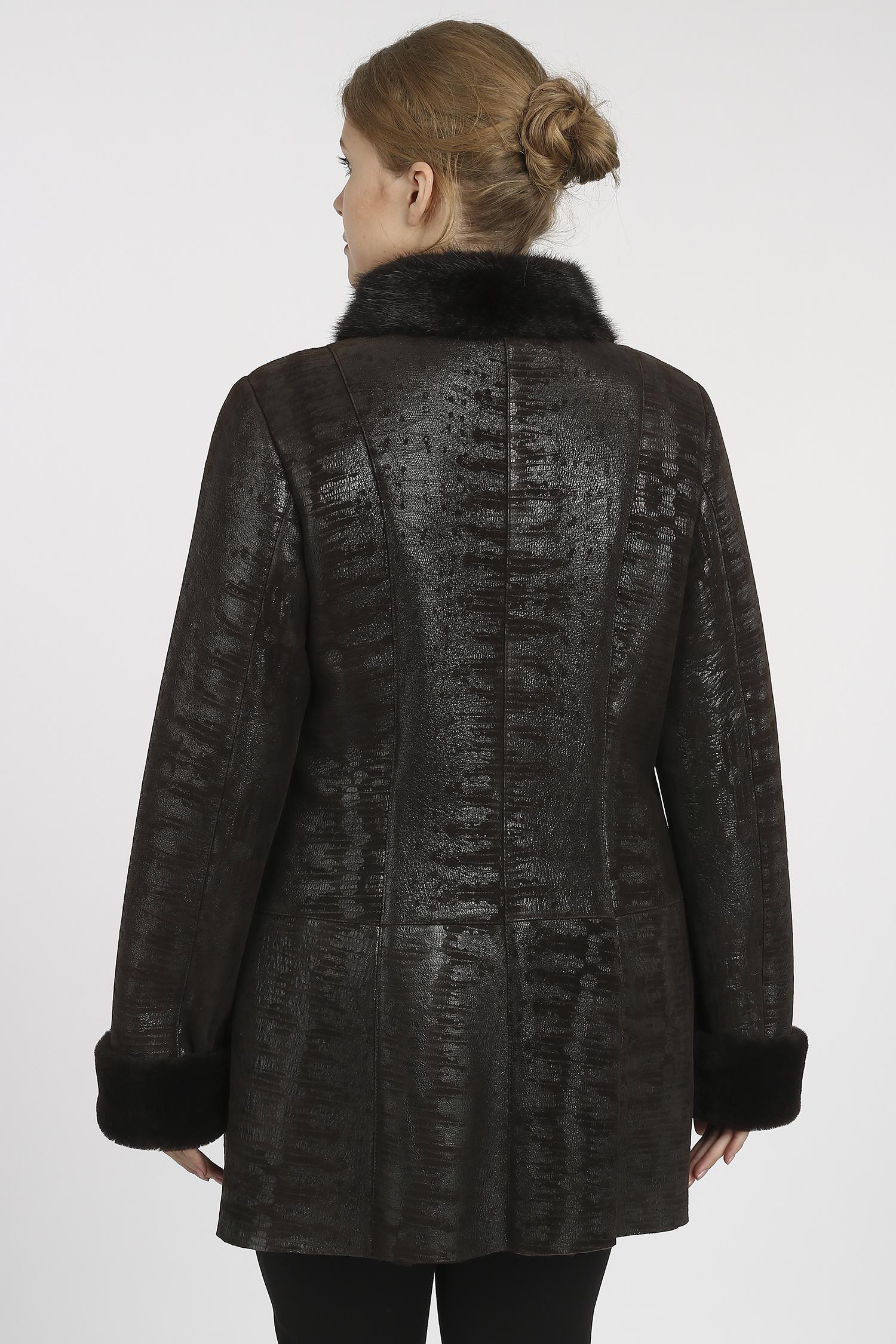Женская кожаная куртка из натуральной кожи с воротником, отделка искусственный мех
