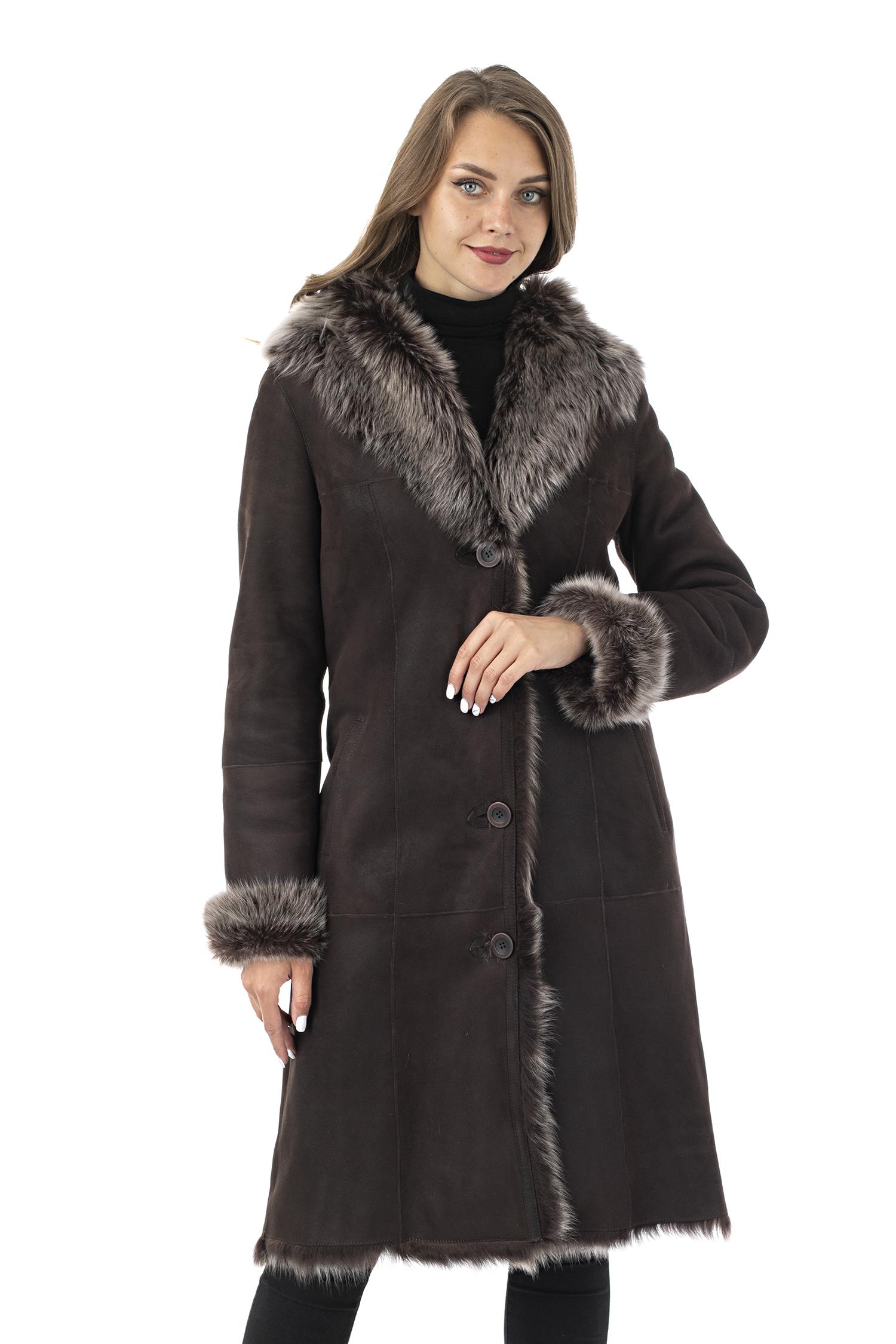 Дубленка женская из натуральной овчины с капюшоном МОСМЕХА