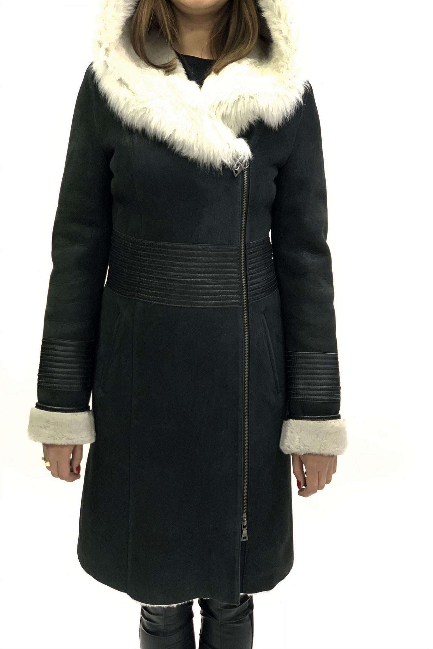 Дубленка женская из натуральной овчины с капюшоном, отделка тоскана