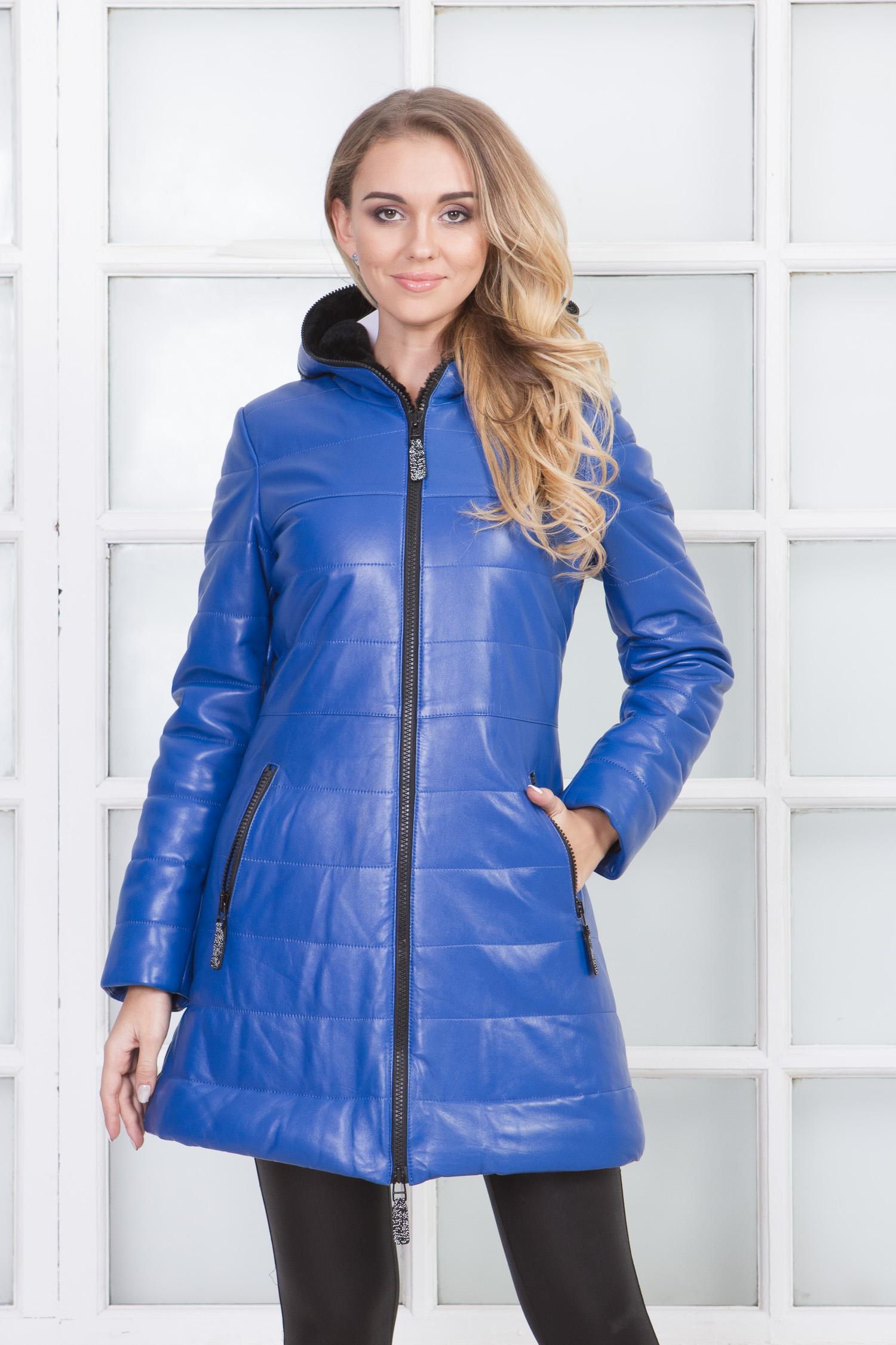 Женское кожаное пальто из натуральной кожи на меху с капюшоном от МОСМЕХА