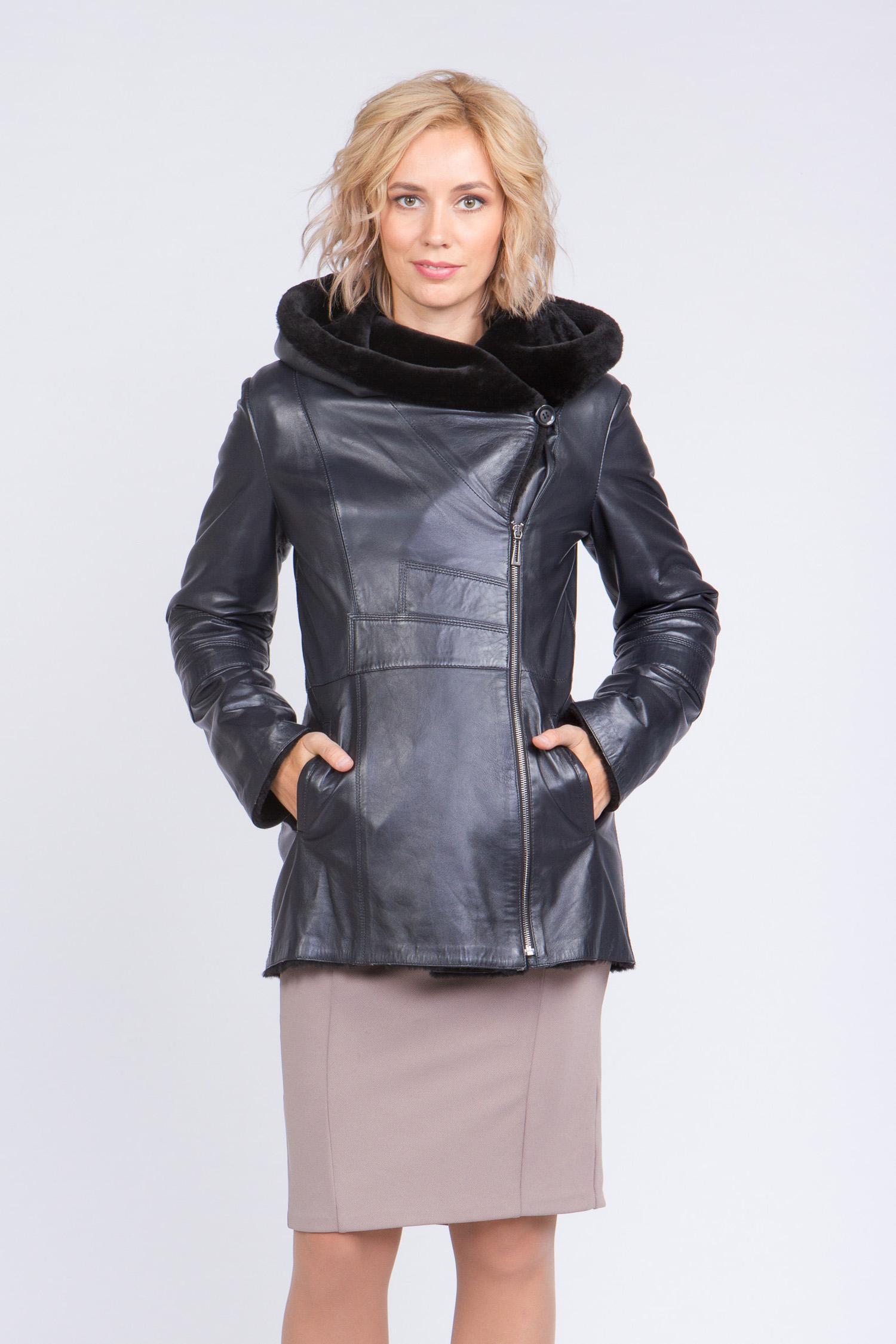 Женская кожаная куртка из натуральной кожи на меху с капюшоном