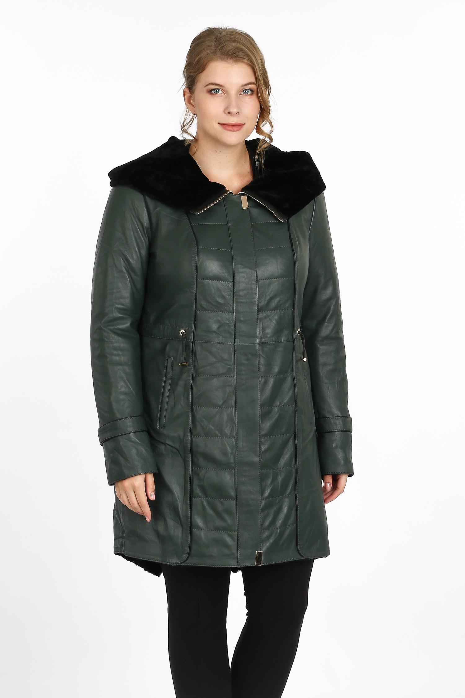 Купить Женское кожаное пальто из натуральной кожи на меху с капюшоном, без отделки, МОСМЕХА, зеленый, Кожа овчина, 3600168