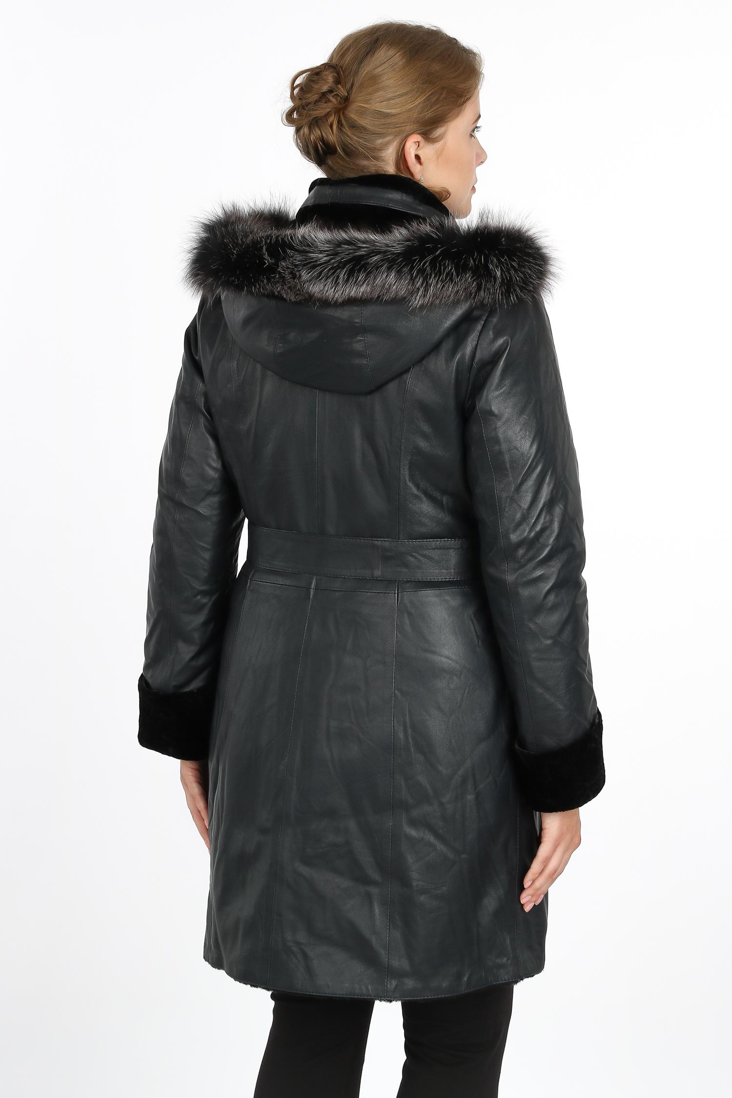 Женская кожаная куртка из натуральной кожи на меху с капюшоном, отделка блюфрост