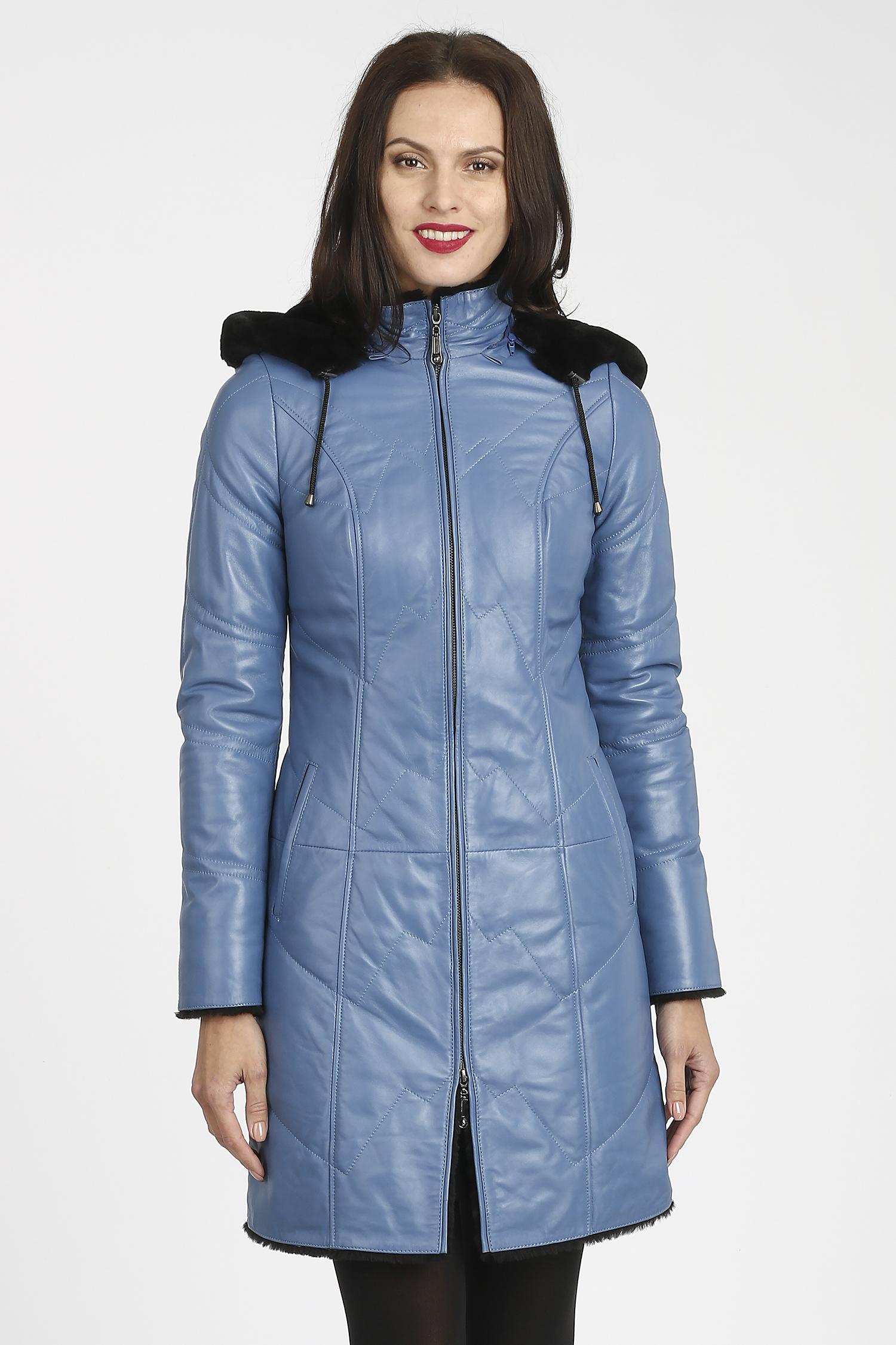 Женское кожаное пальто из натуральной кожи на меху с капюшоном, без отделки