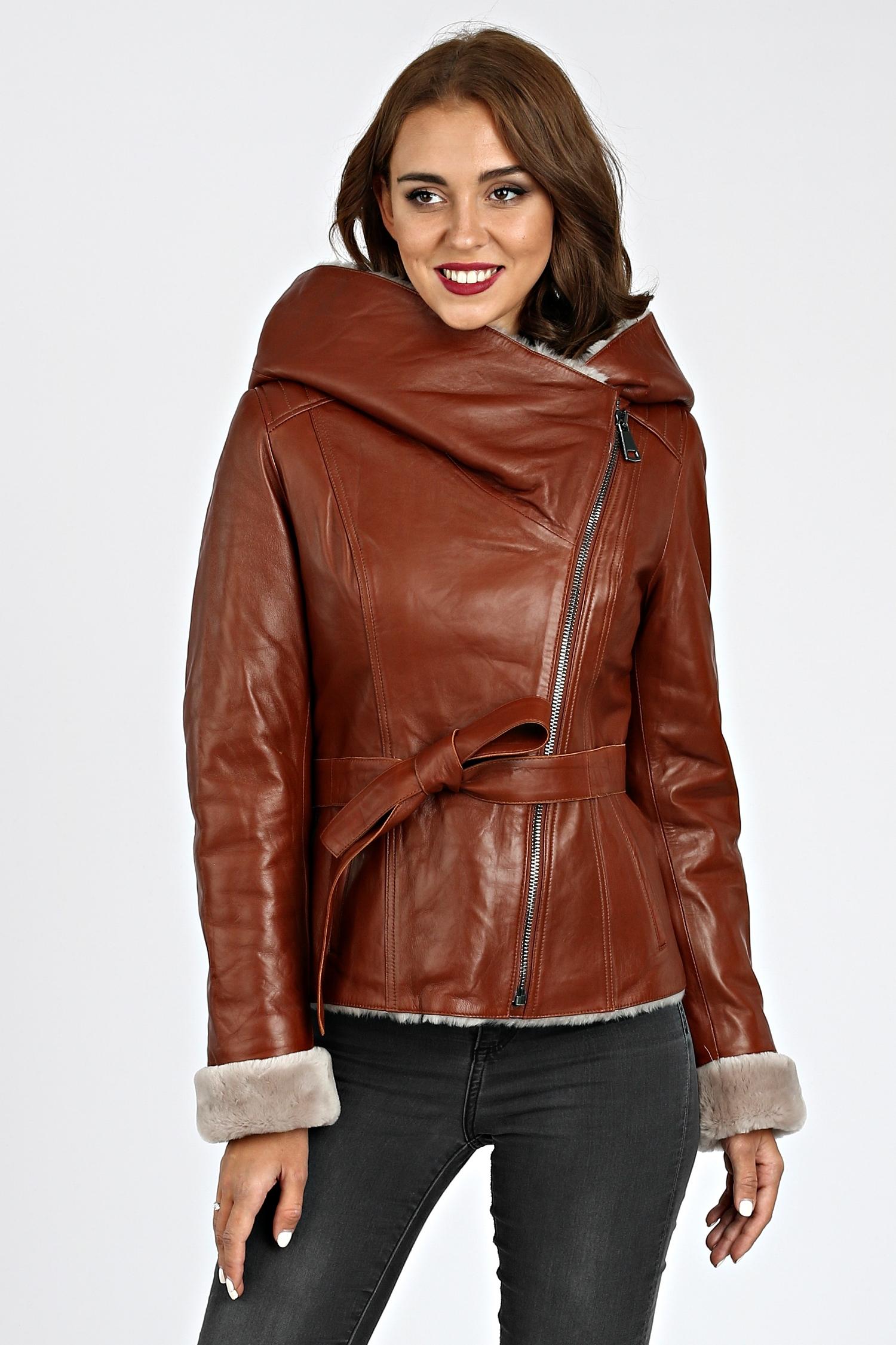 cec522e068e4 Женская кожаная куртка из натуральной кожи на меху с капюшоном (Арт ...