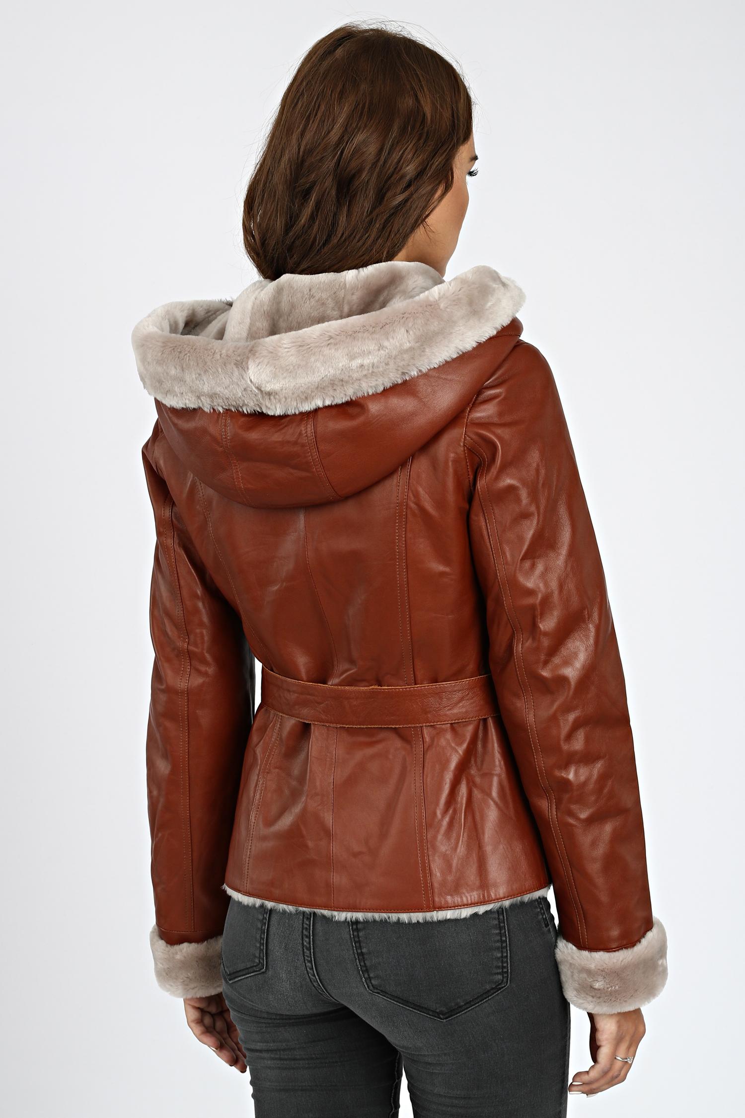 Мужская кожаная куртка из натуральной кожи утепленная с воротником, без отделки
