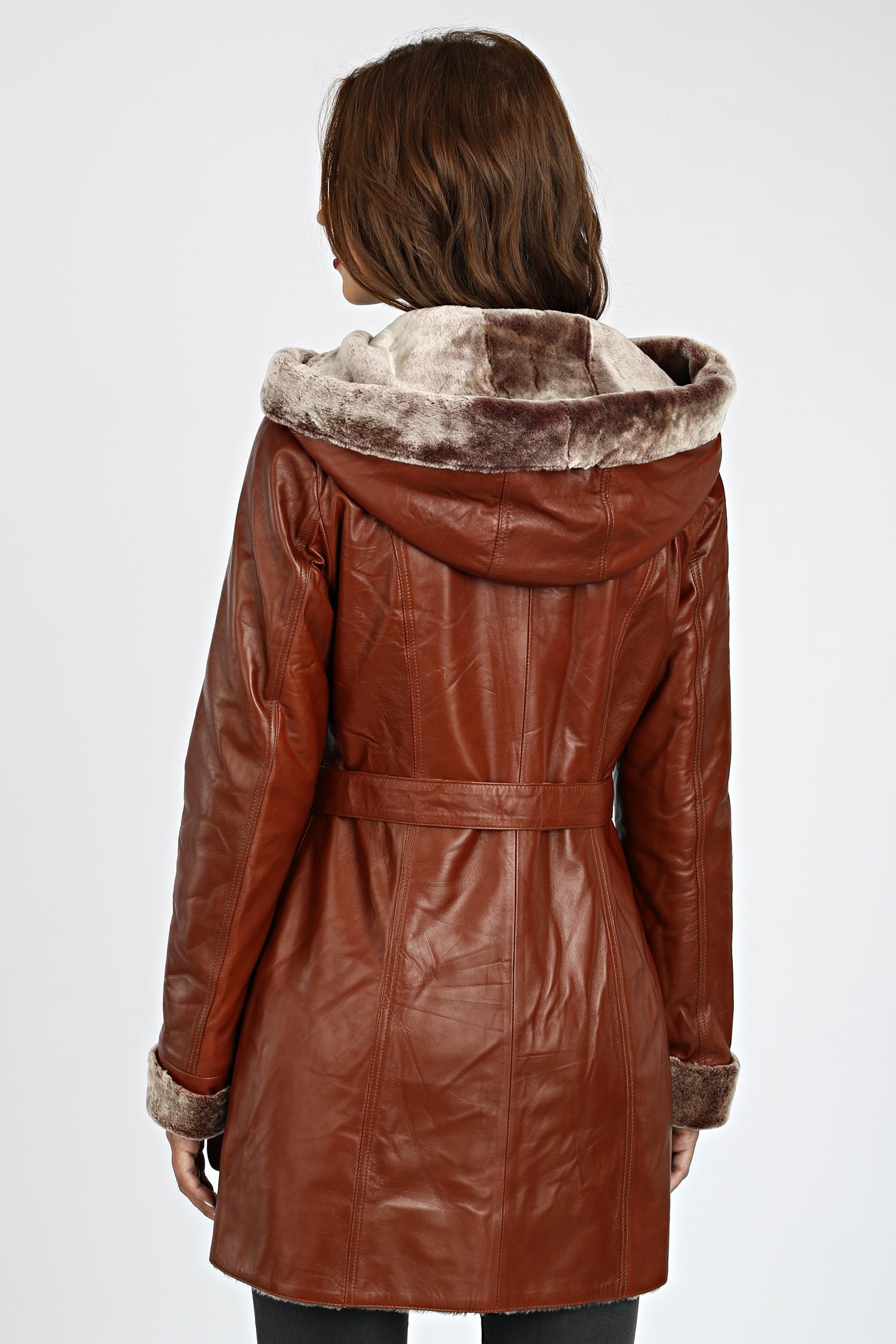 Женская кожаная куртка из натуральной кожи на меху с капюшоном, без отделки
